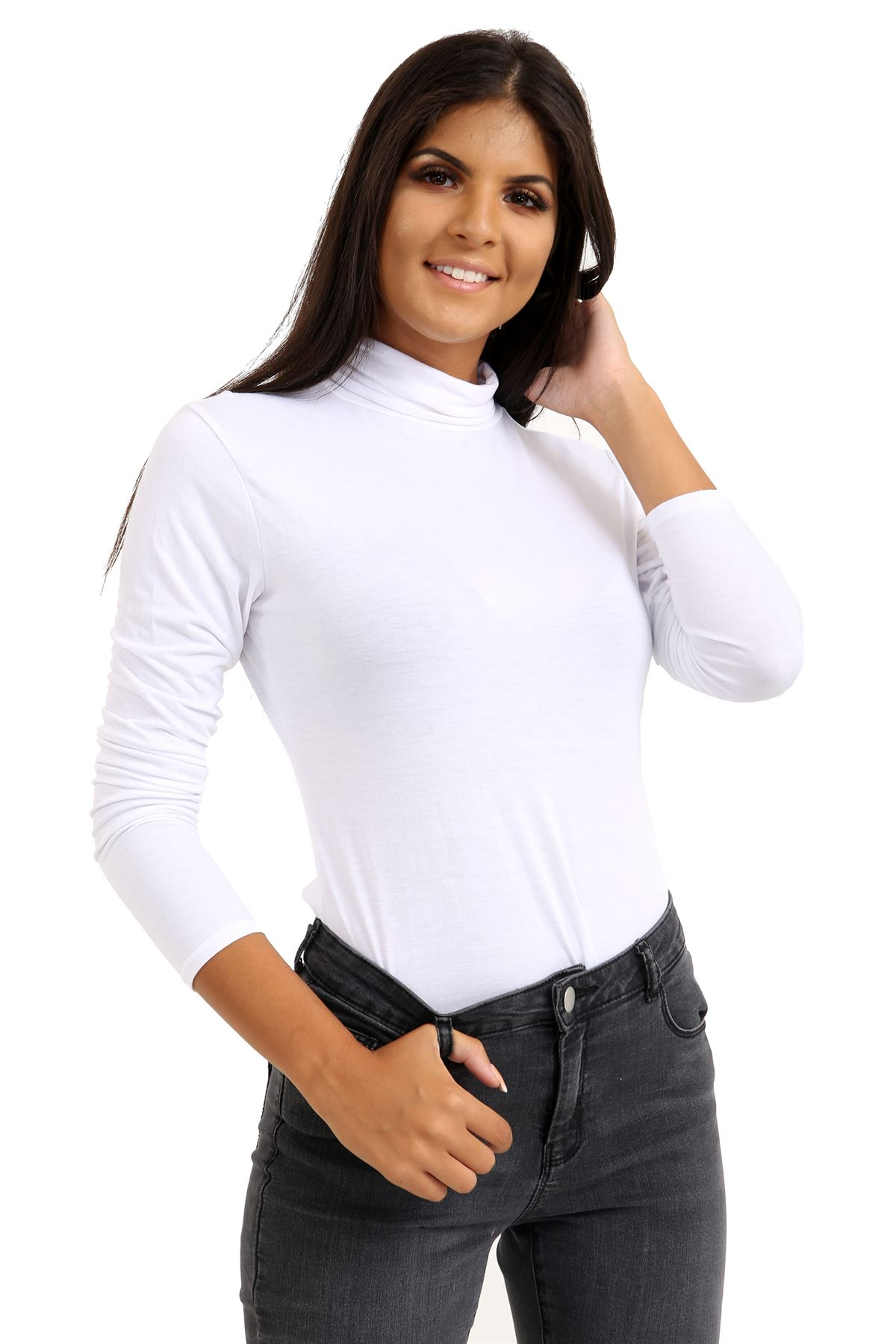 New-Ladies-Long-Sleeve-Plain-Turtle-Polo-Roll-Neck-Stretch-Jumper-T-Shirt-TeeTop thumbnail 28