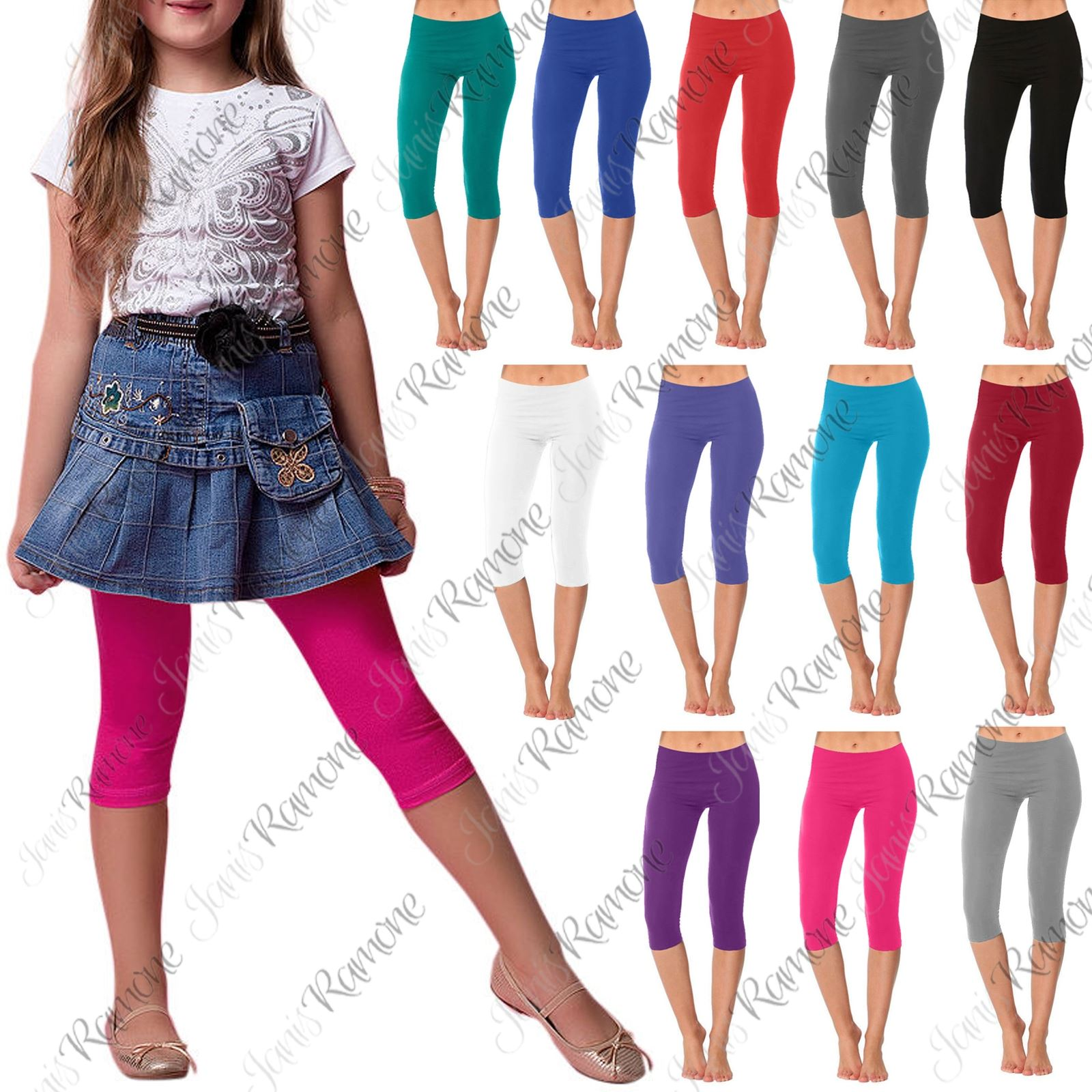 New Girls Kids Gymnastics Dance Cotton Plain Cropped 3//4 Leggings Capri Pants