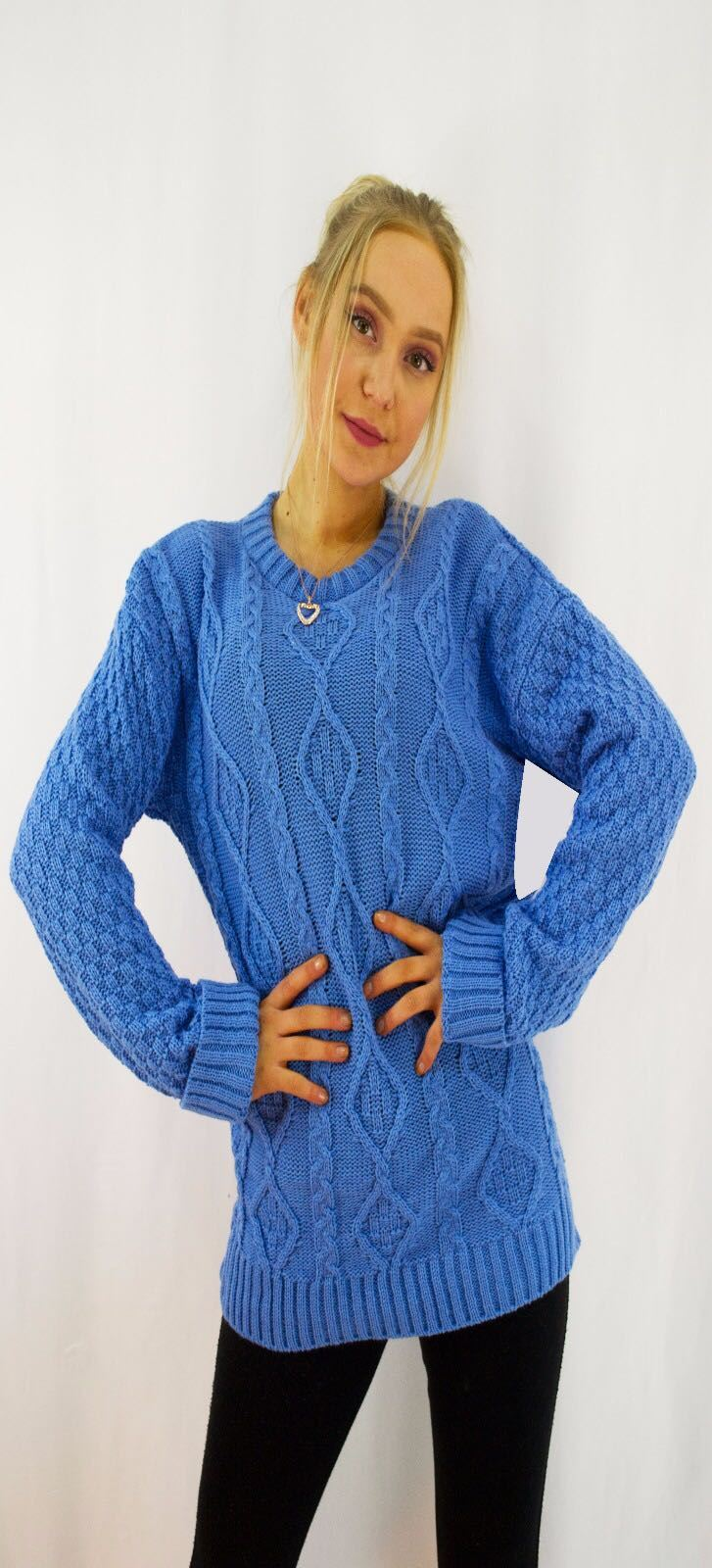 New-Ladies-Long-Manche-Chunky-Cable-Knitted-Jumper-crew-neck-hiver-Sweater-Top miniature 35