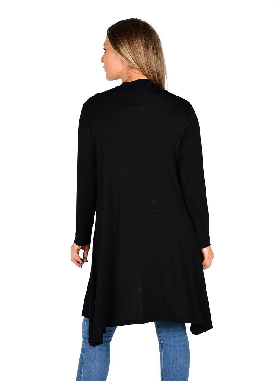 New-Womens-Open-Front-Knee-Length-Plain-Cardigan-Long-Sleeve-Party-Casual-Top miniatura 5
