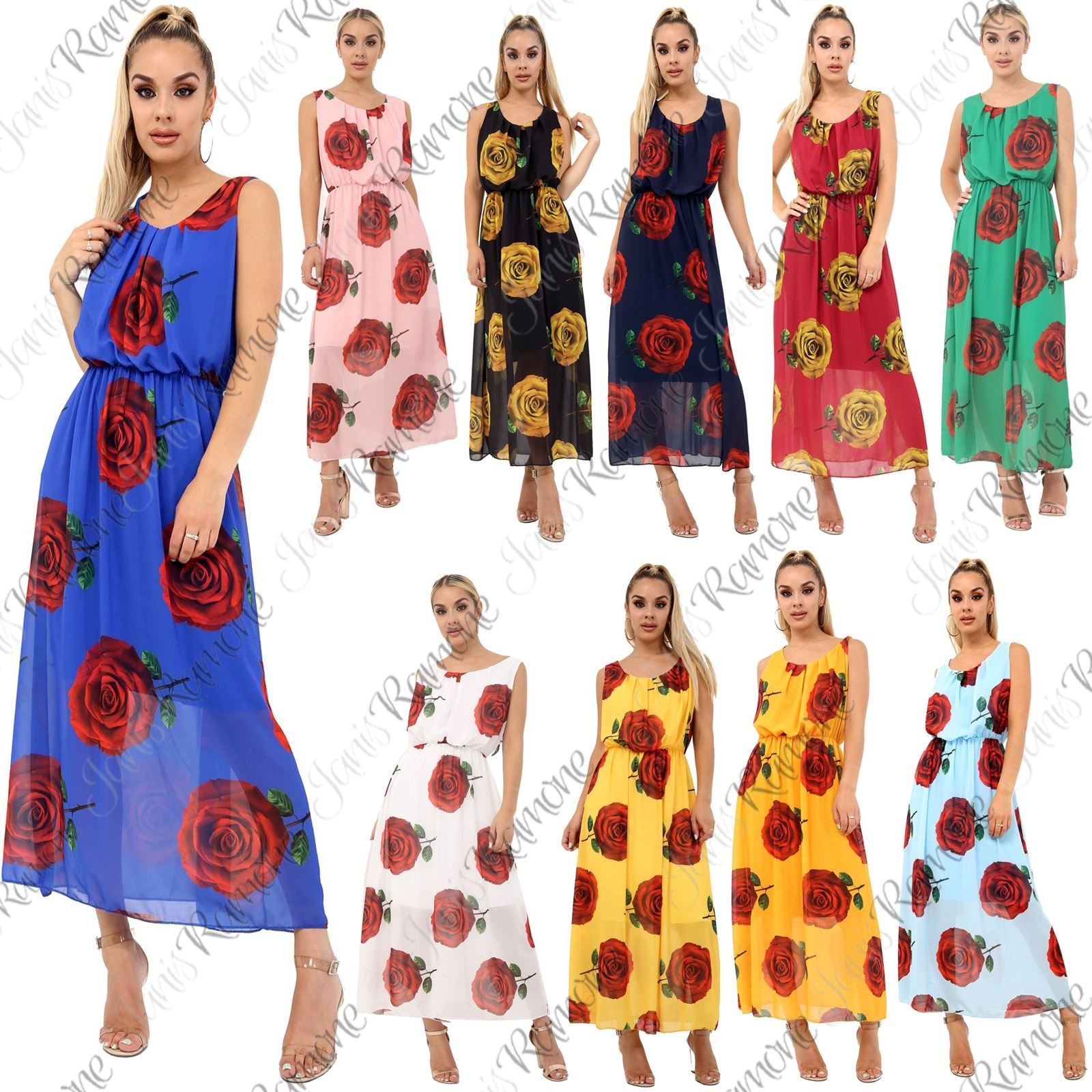 9c4ca4dcb844 Details about Womens Floral Print Chiffon With Linning Party Summer Balloons  Long Maxi Dress