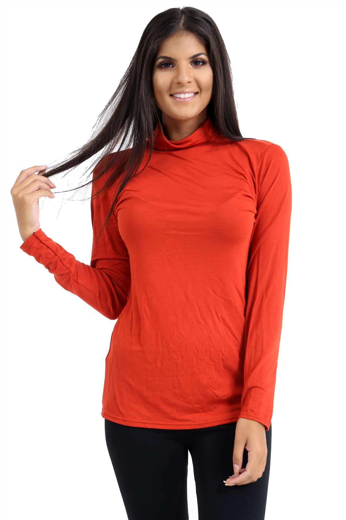 New-Ladies-Long-Sleeve-Plain-Turtle-Polo-Roll-Neck-Stretch-Jumper-T-Shirt-TeeTop thumbnail 93