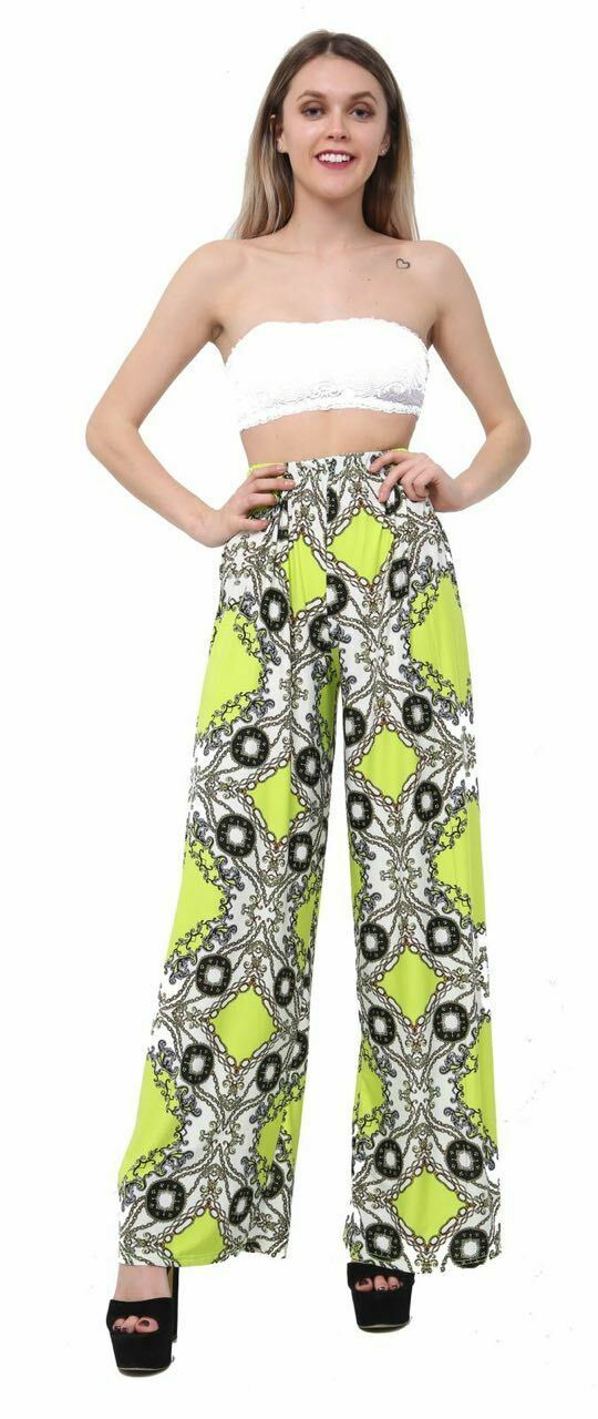 New-Ladies-Floral-Printed-Wide-Leg-Flared-Parallel-Baggy-Trousers-Pants-Palazzo thumbnail 69