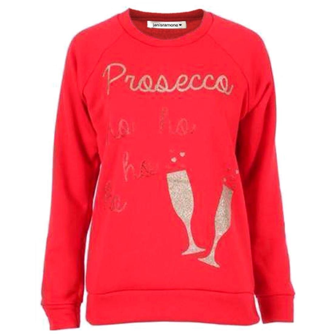Femme Prosecco HO HO HO paillettes équipe Rudolph Rudolph équipe Fleece Sweatshirt De Noël Pull 941fe3