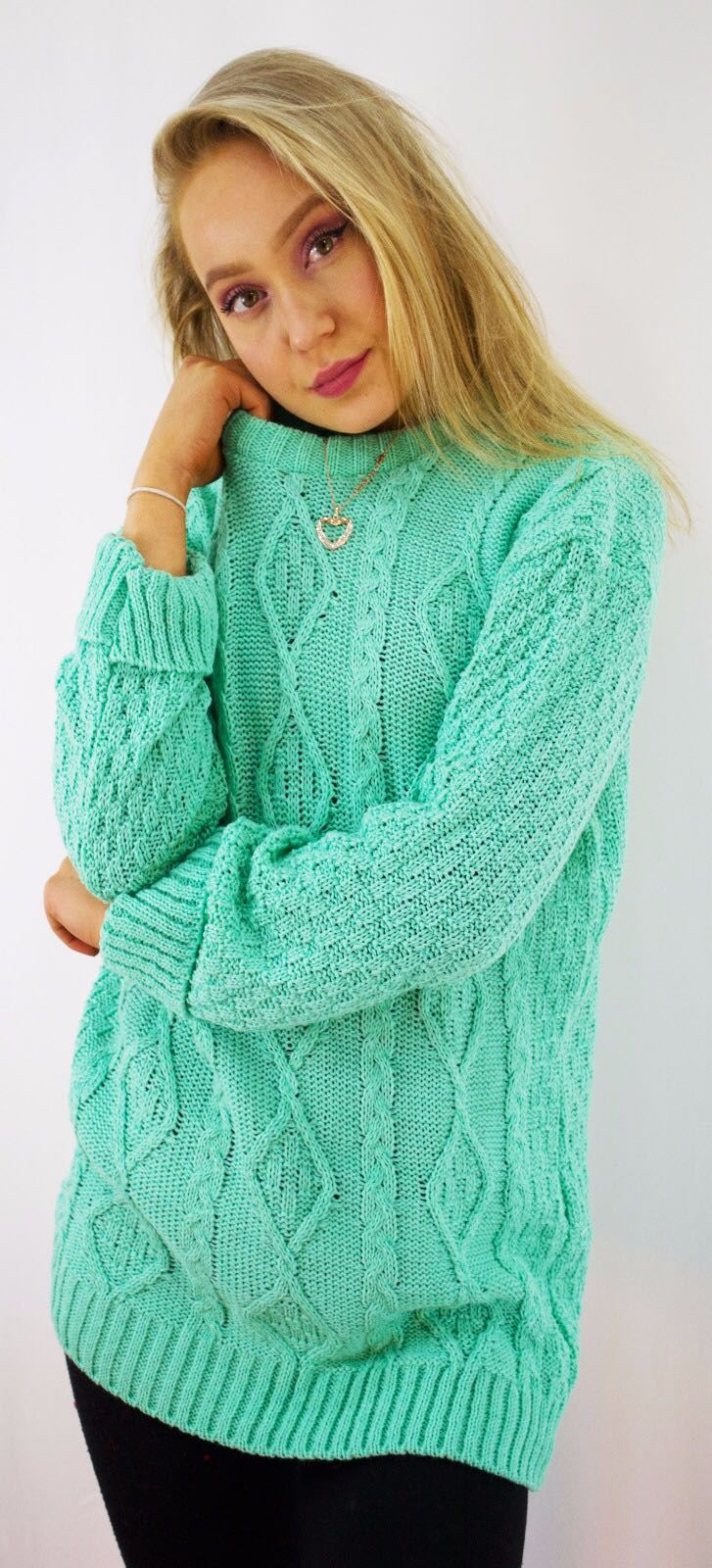 New-Ladies-Long-Manche-Chunky-Cable-Knitted-Jumper-crew-neck-hiver-Sweater-Top miniature 21