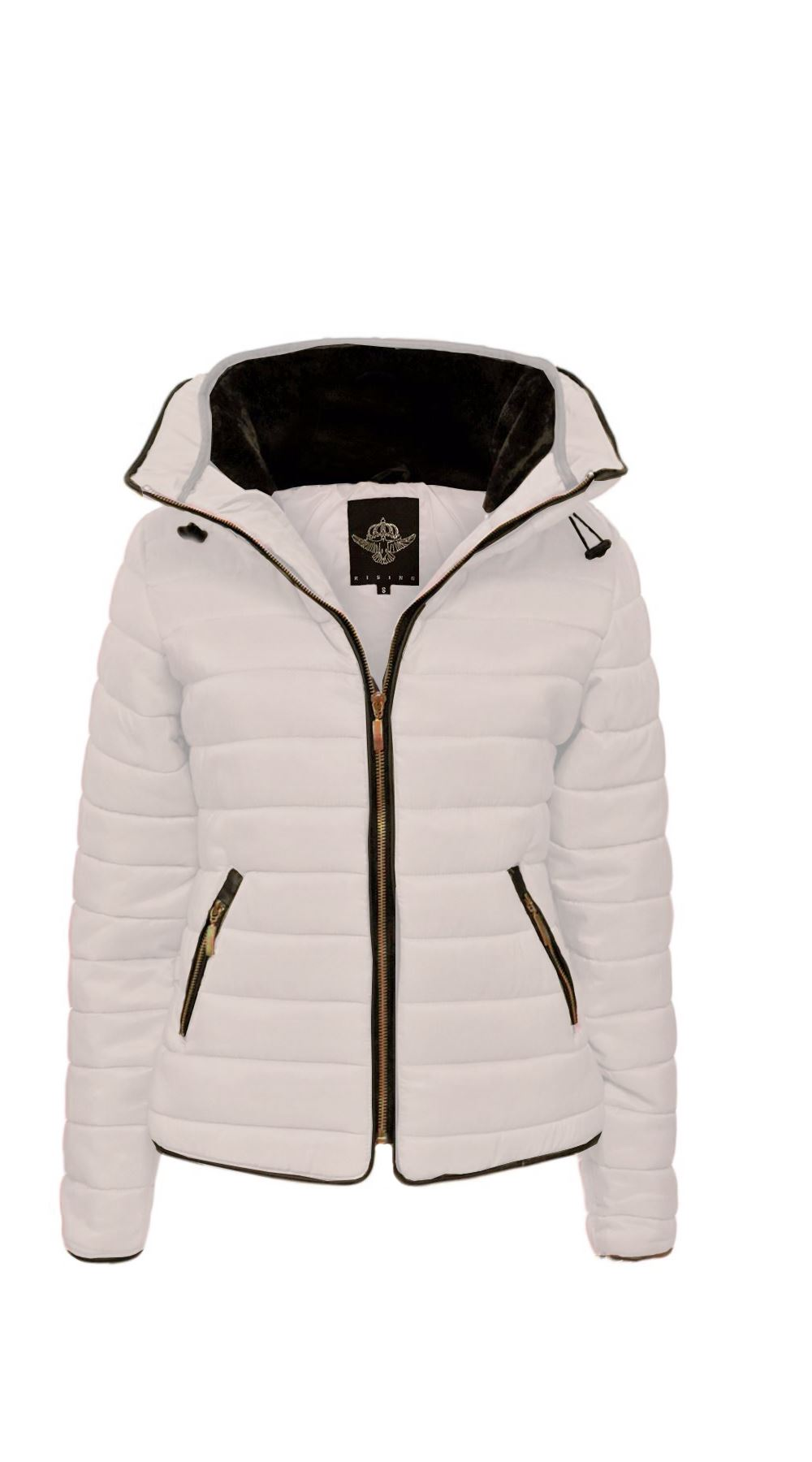 New Ladies Quilted Puffer Bubble Padded Jacket Fur Collar Gold ... : gold quilted jacket - Adamdwight.com