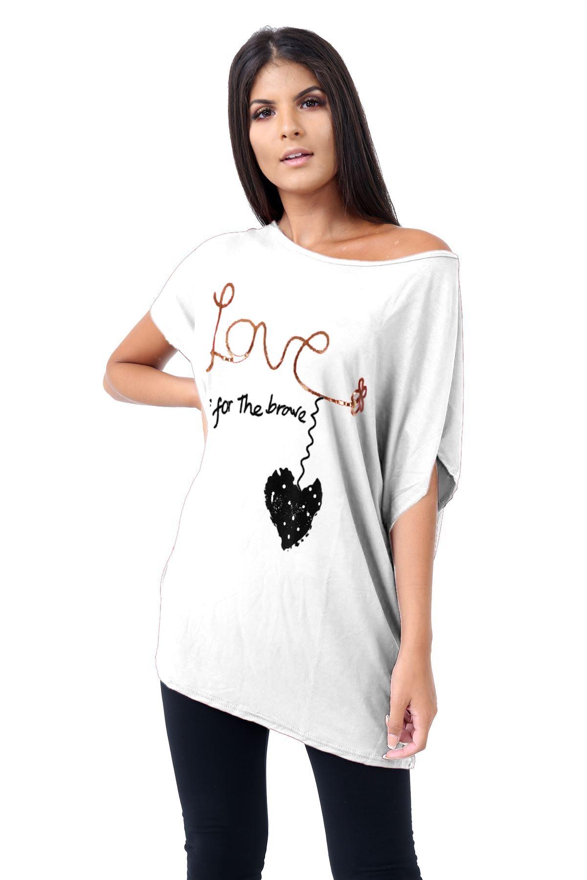 Plus-Size-Womens-Batwing-Sleeve-Printed-Off-Shoulder-Bardot-Oversize-T-Shirt-Top thumbnail 16