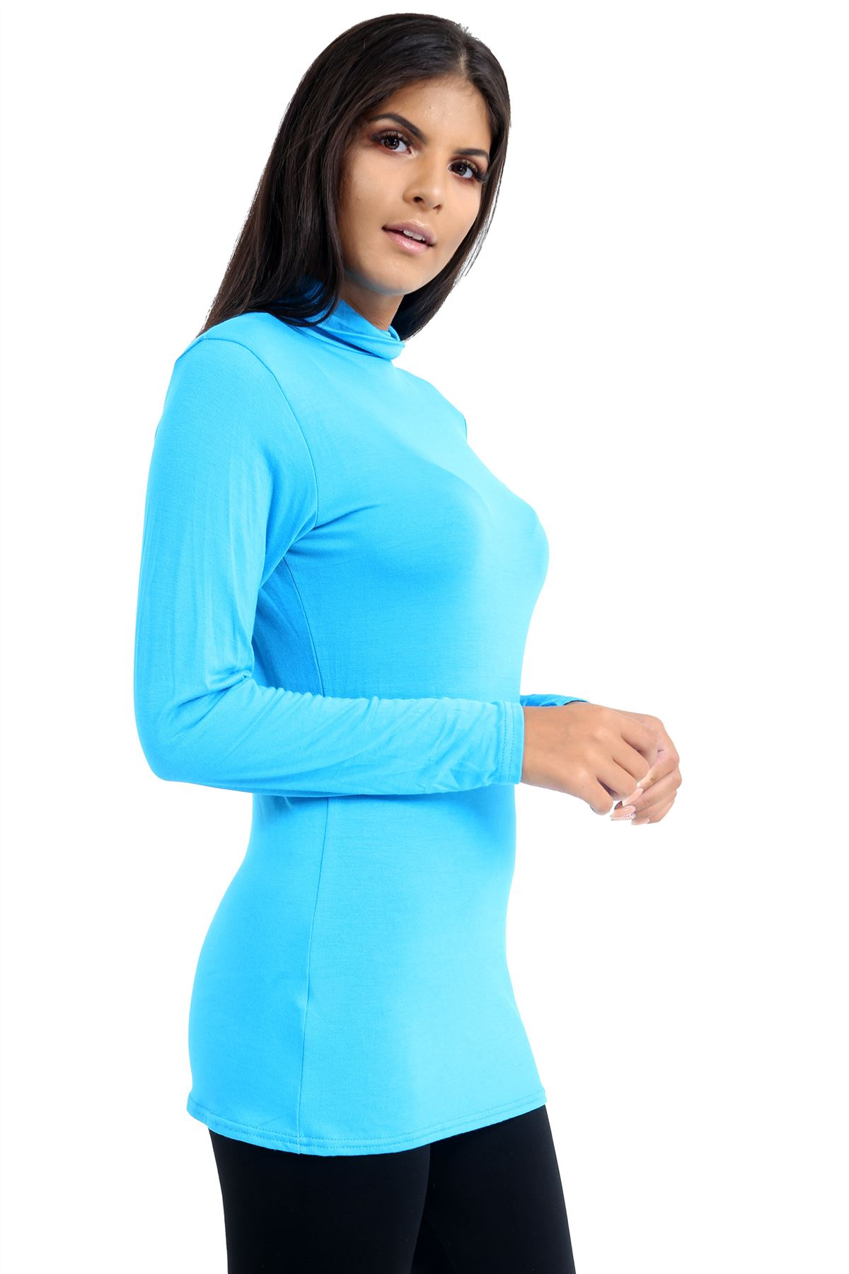 New-Ladies-Long-Sleeve-Plain-Turtle-Polo-Roll-Neck-Stretch-Jumper-T-Shirt-TeeTop thumbnail 117