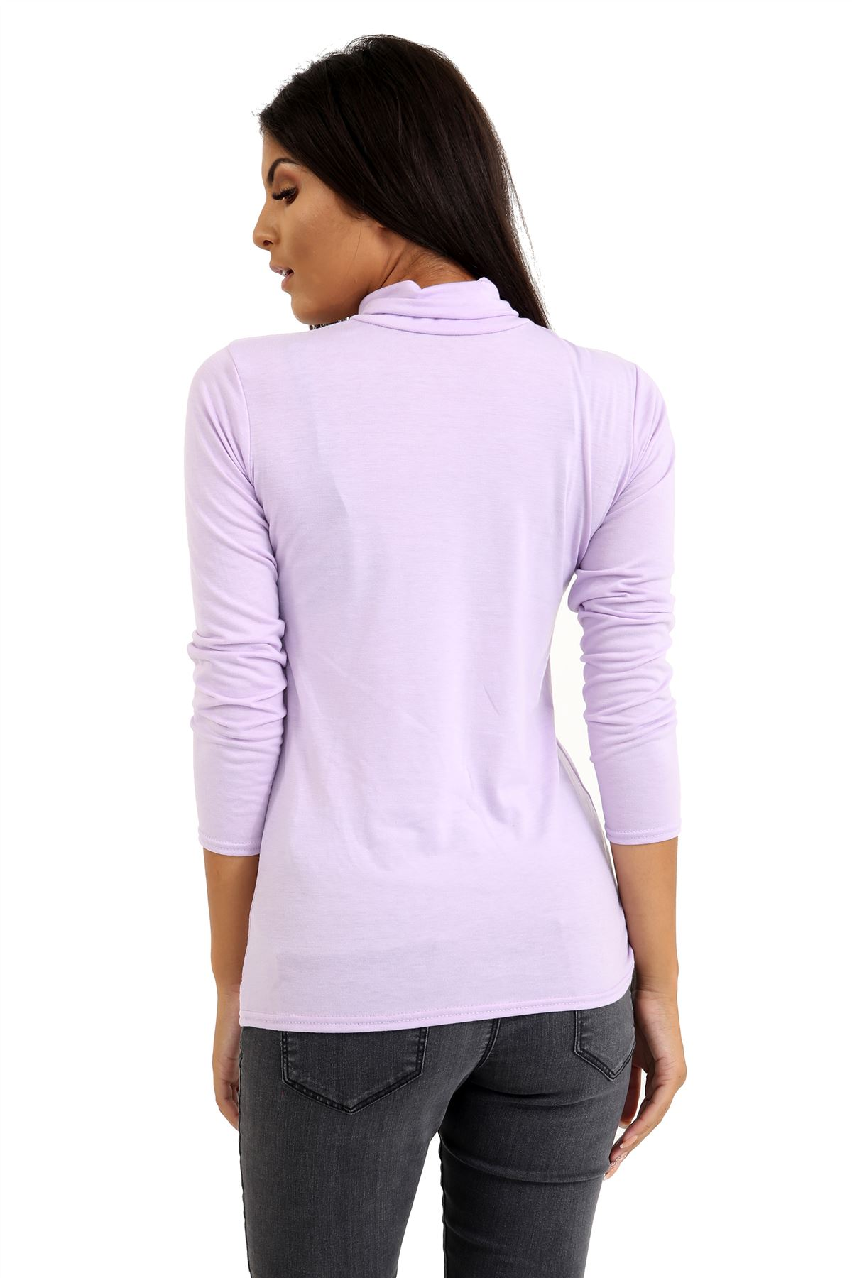 New-Ladies-Long-Sleeve-Plain-Turtle-Polo-Roll-Neck-Stretch-Jumper-T-Shirt-TeeTop thumbnail 57