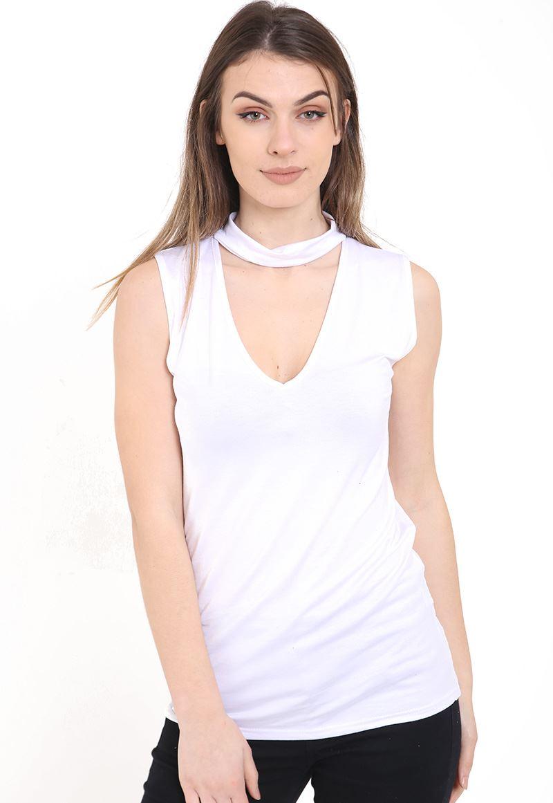 New Womens High Choker V Neck Collar Cut Out Plunge Sleeveless ... 71a06b666