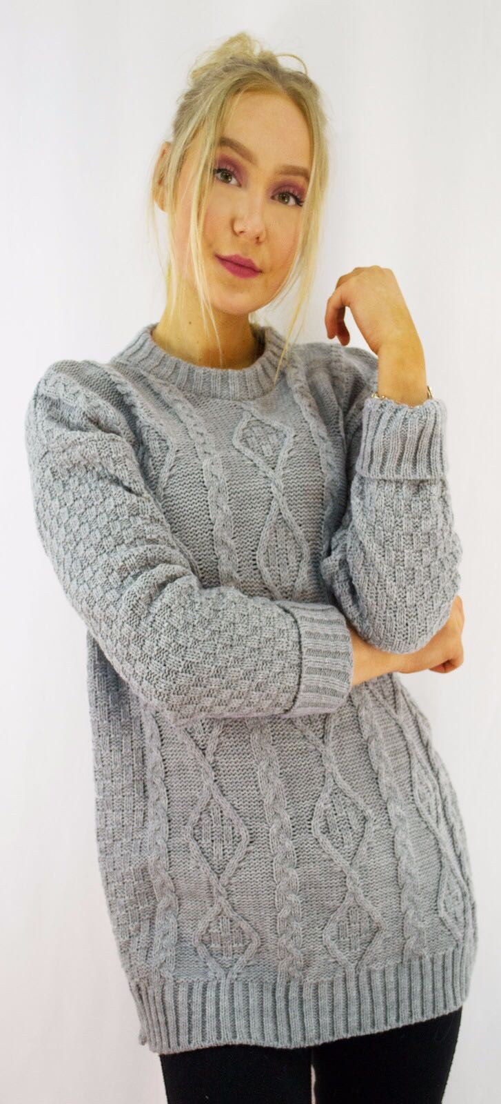 New-Ladies-Long-Manche-Chunky-Cable-Knitted-Jumper-crew-neck-hiver-Sweater-Top miniature 18
