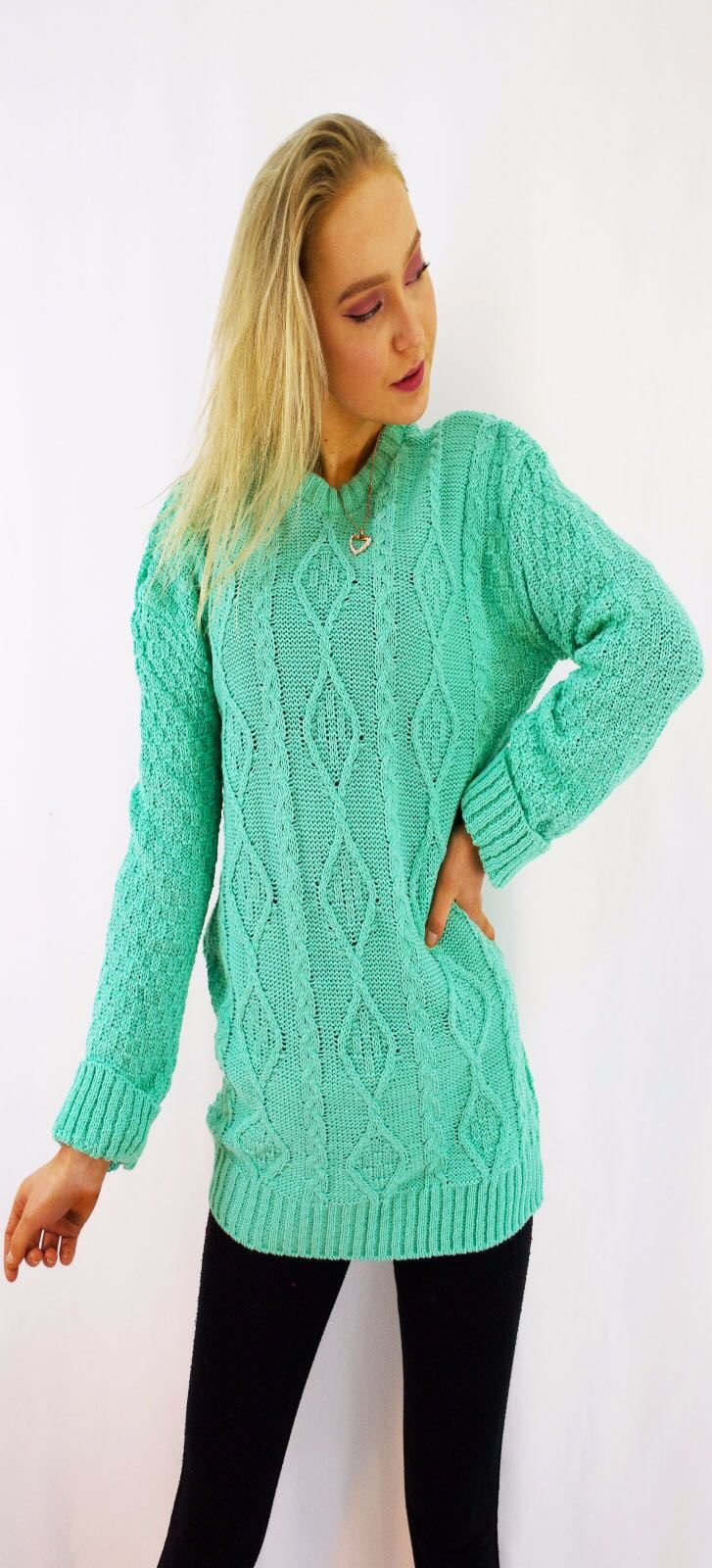 New-Ladies-Long-Manche-Chunky-Cable-Knitted-Jumper-crew-neck-hiver-Sweater-Top miniature 20