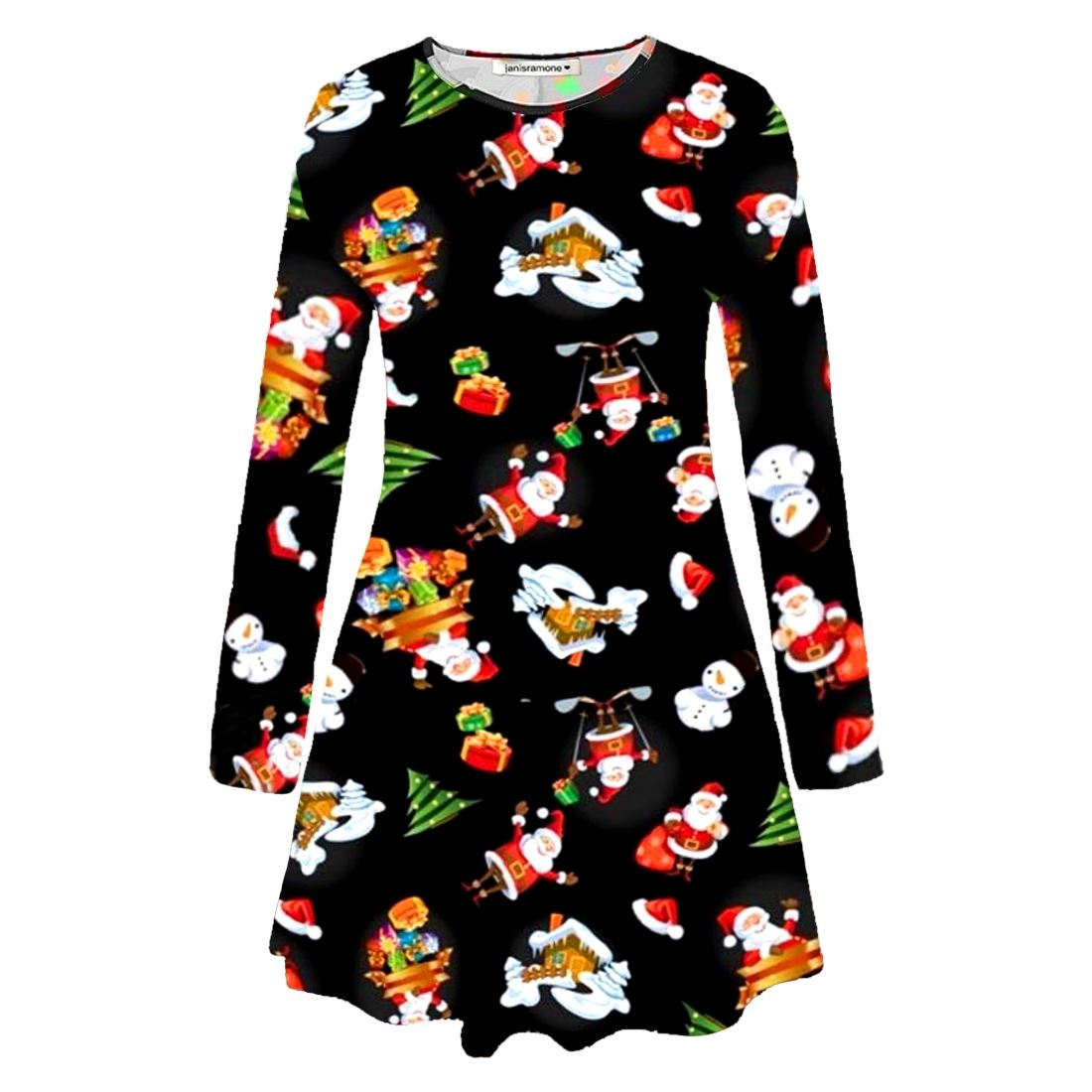 Nouveau-Femme-Santa-Renne-Noel-imprime-evasee-Cadeau-Fete-Mini-Robe-Swing