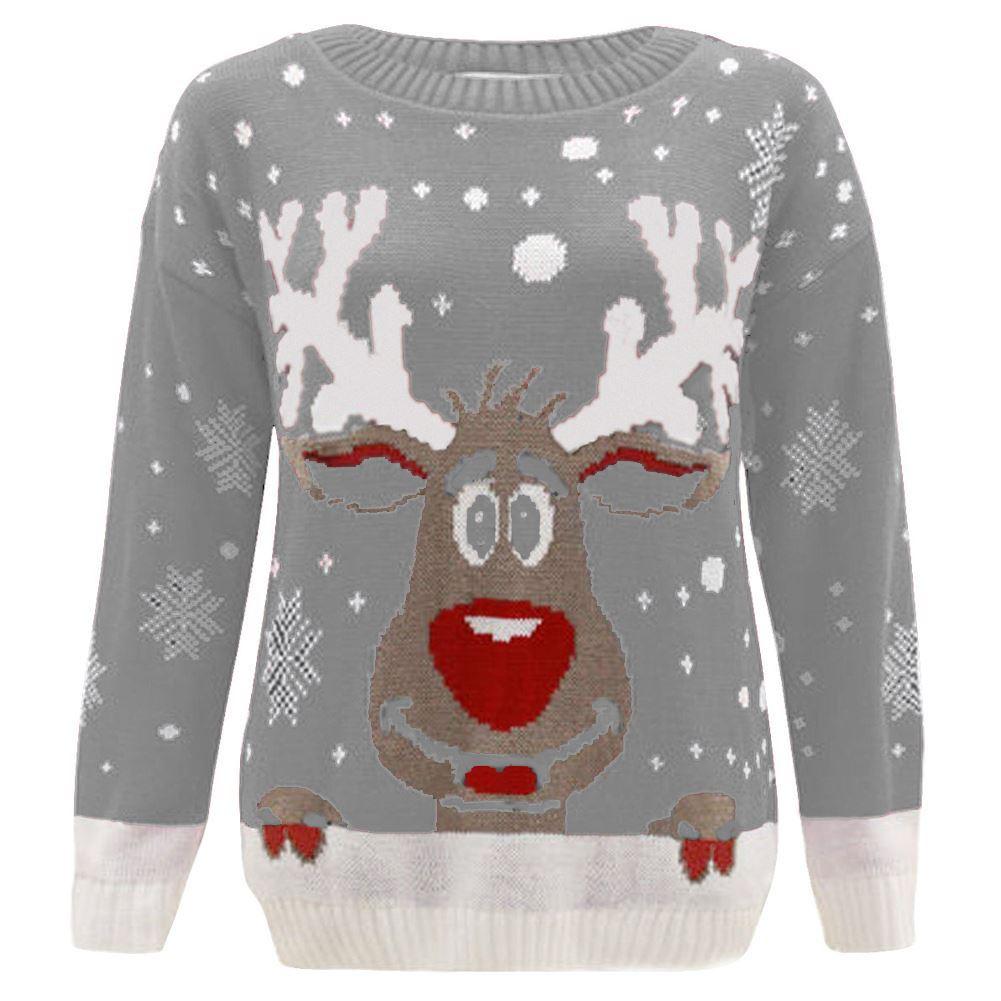 new girls boys reindeer star knitted christmas jumper kids. Black Bedroom Furniture Sets. Home Design Ideas