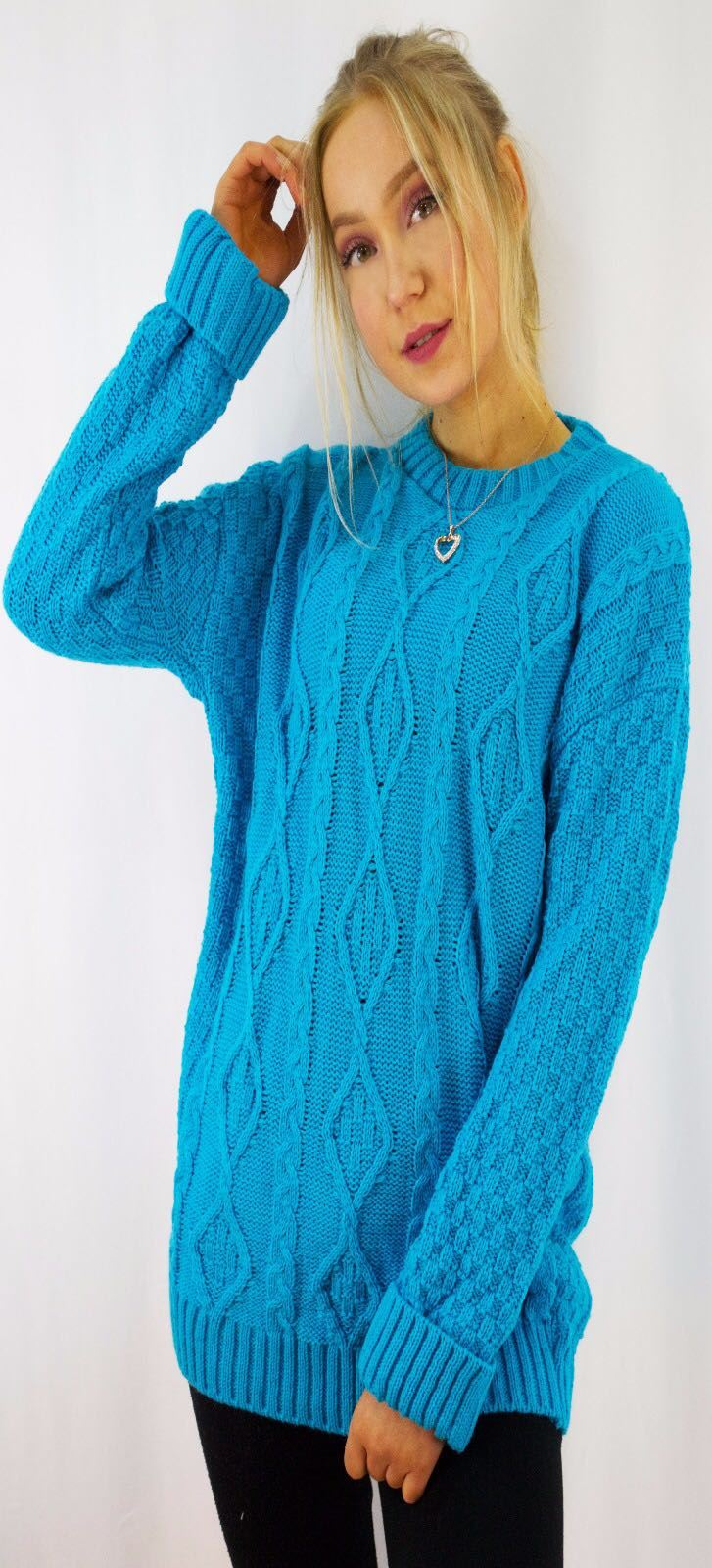 New-Ladies-Long-Manche-Chunky-Cable-Knitted-Jumper-crew-neck-hiver-Sweater-Top miniature 42