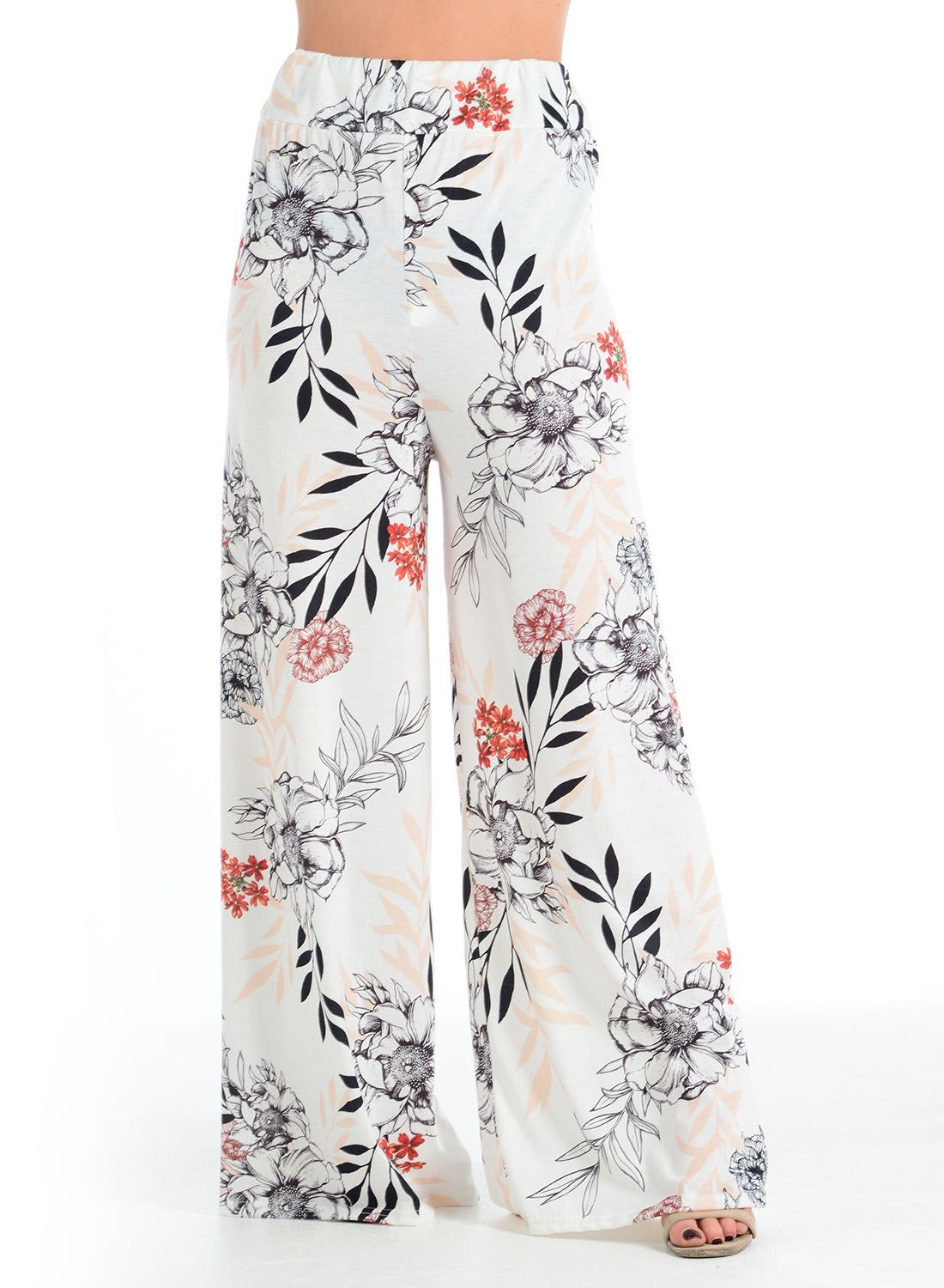 New-Ladies-Floral-Printed-Wide-Leg-Flared-Parallel-Baggy-Trousers-Pants-Palazzo thumbnail 20