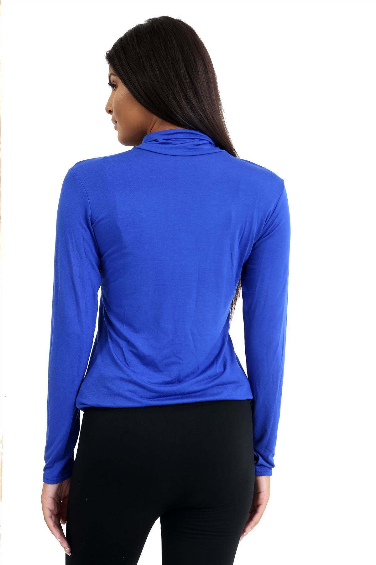 New-Ladies-Long-Sleeve-Plain-Turtle-Polo-Roll-Neck-Stretch-Jumper-T-Shirt-TeeTop thumbnail 99