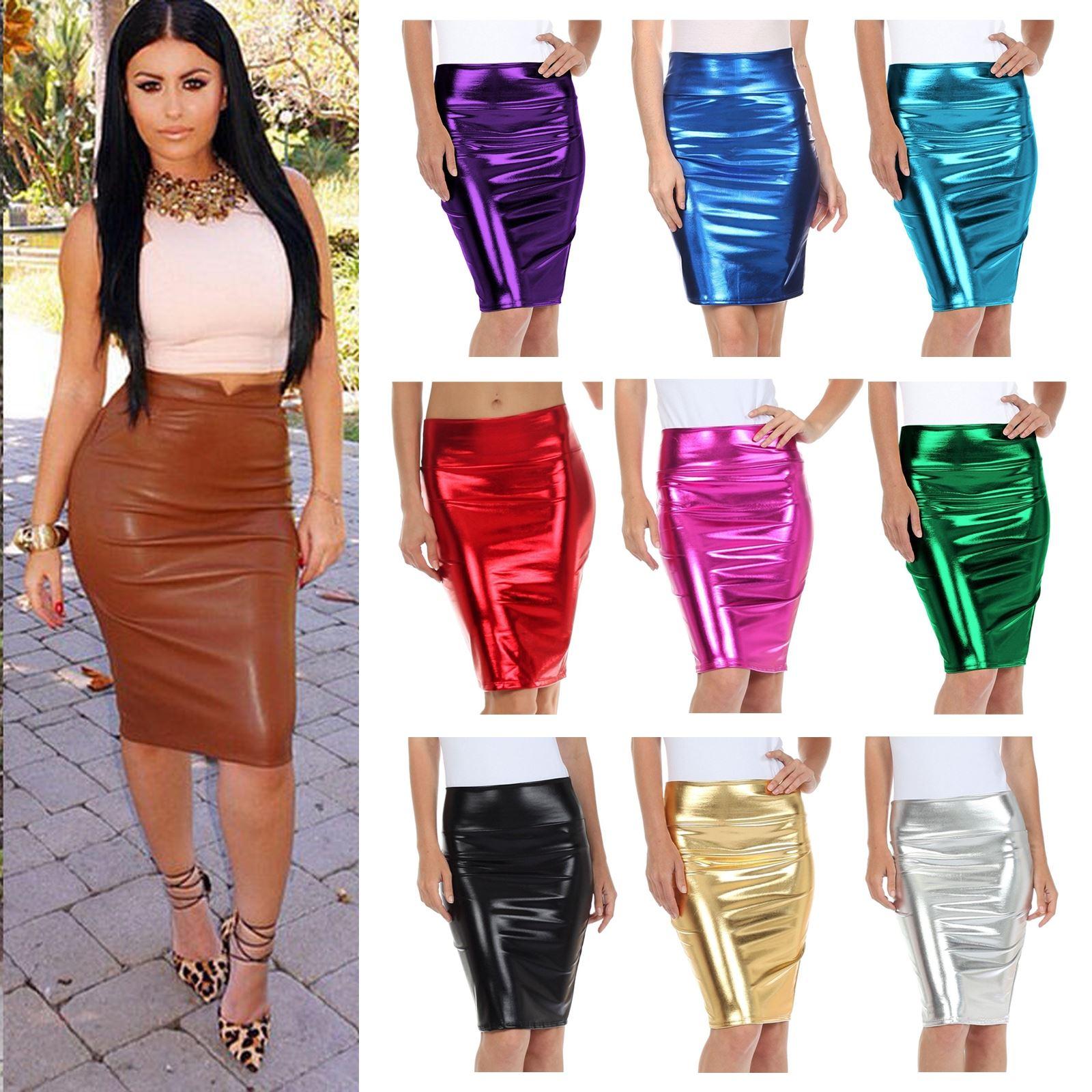 920ee1c654 New Women High Waist Wetlook PVC Leather Shiny Metallic Liquid Pencil Midi  Skirt