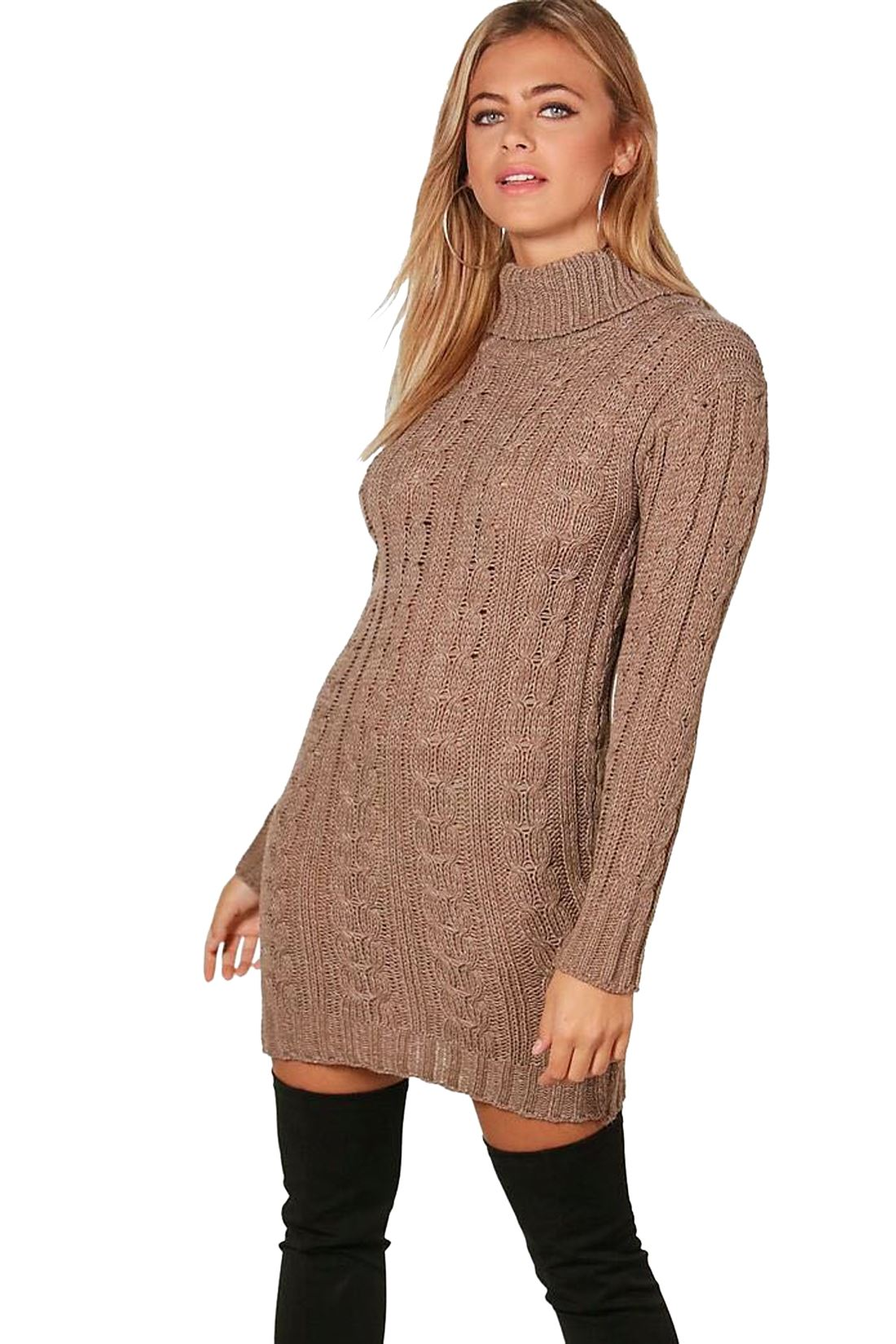 New-Ladies-Cowl-Polo-Neck-Cable-Knitted-Jumper-Pull-Bodycon-Tunic-Mini-Dress miniature 18