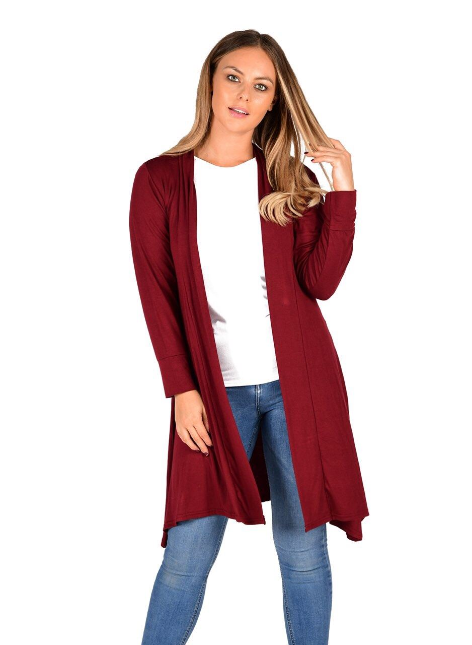 New-Womens-Open-Front-Knee-Length-Plain-Cardigan-Long-Sleeve-Party-Casual-Top miniatura 17