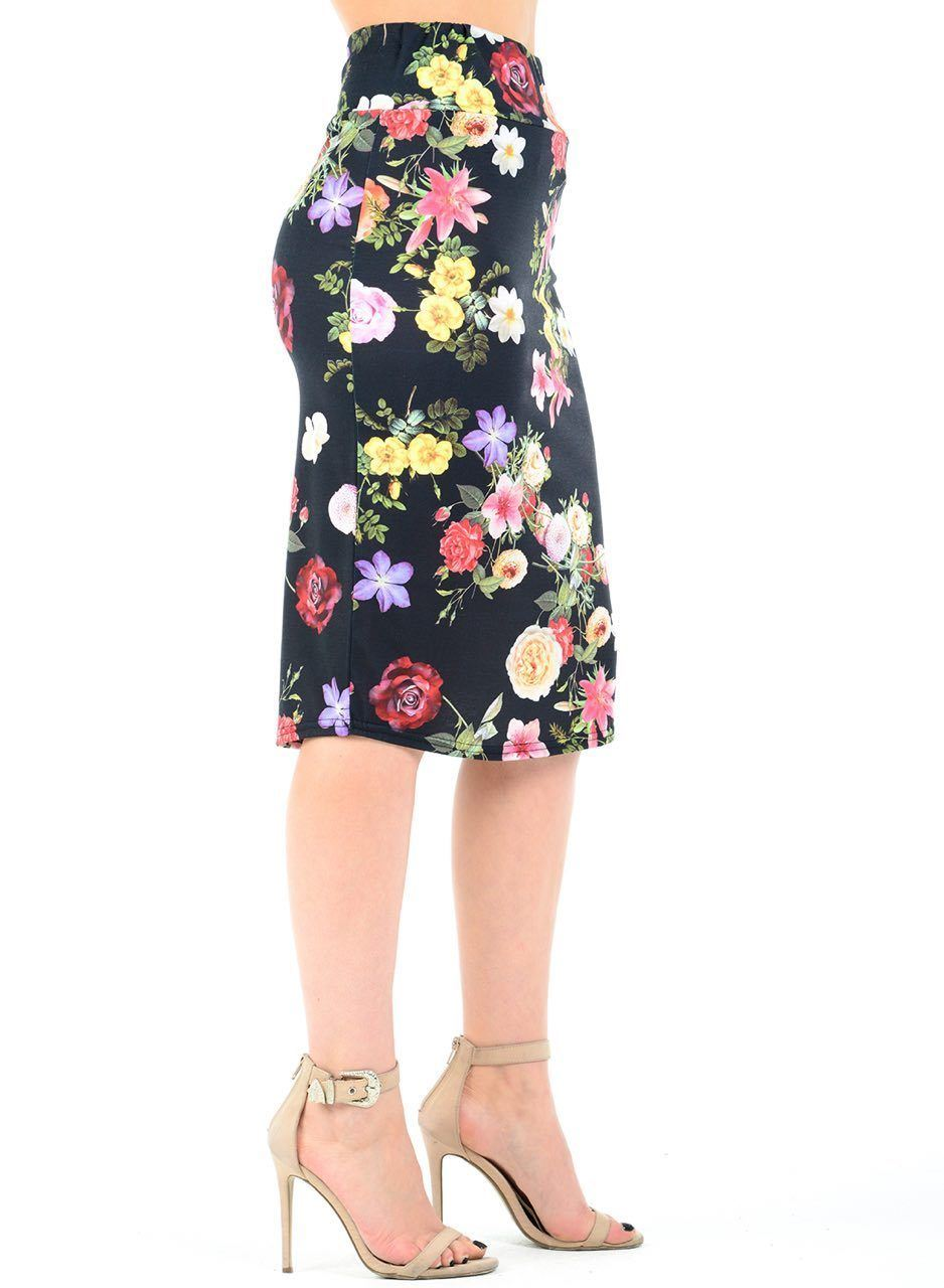 New Womens Floral Print High Waist Pencil Bodycon Tube Wiggle Summer Midi Skirt