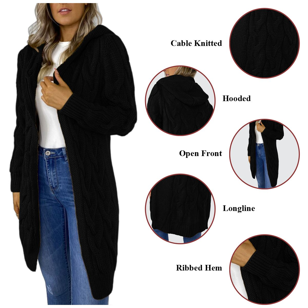 Ladies-Cable-Knitted-Hooded-Open-Longline-Cardigan-Winter-Oversized-Jacket-Top thumbnail 3