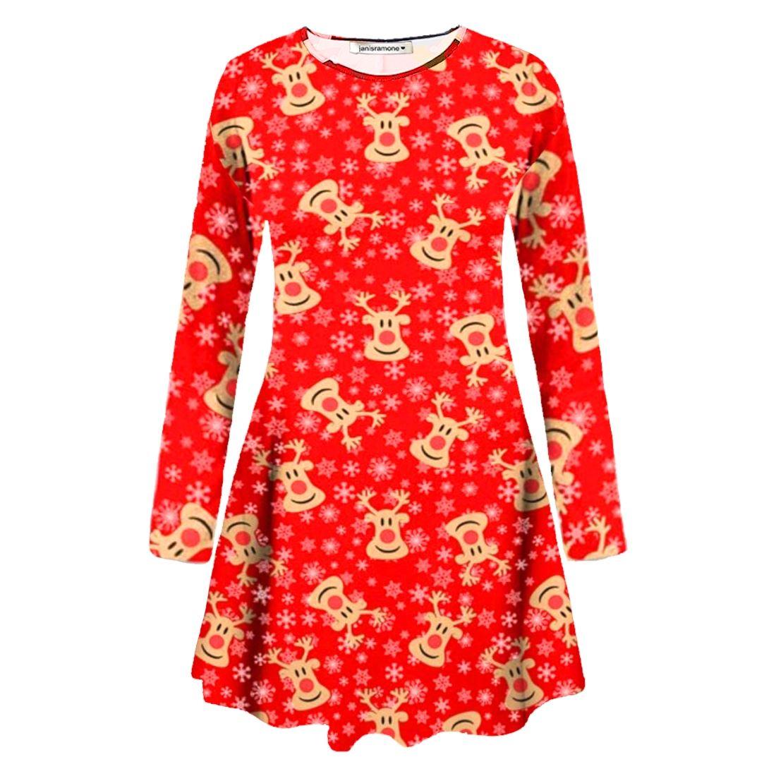 a514aeec98a2 New Women Girls Kids Snowman Reindeer Print Flare Christmas Mini Swing Dress  Top