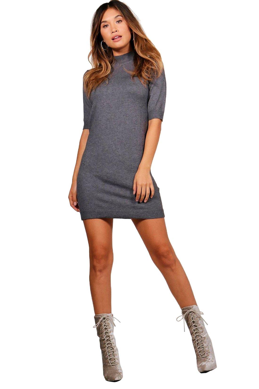 Polo Neck Short Dress