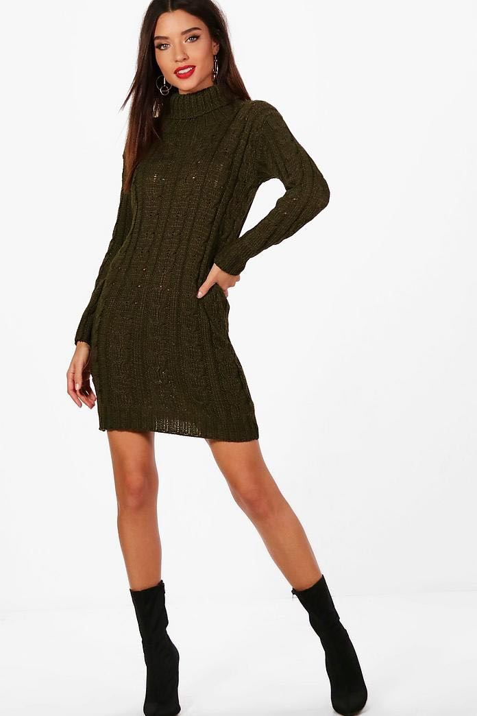 New-Ladies-Cowl-Polo-Neck-Cable-Knitted-Jumper-Pull-Bodycon-Tunic-Mini-Dress miniature 16