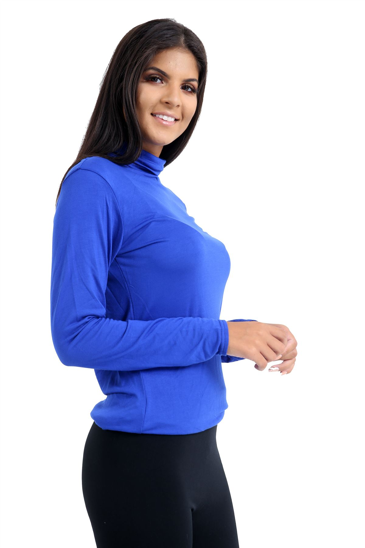 New-Ladies-Long-Sleeve-Plain-Turtle-Polo-Roll-Neck-Stretch-Jumper-T-Shirt-TeeTop thumbnail 101