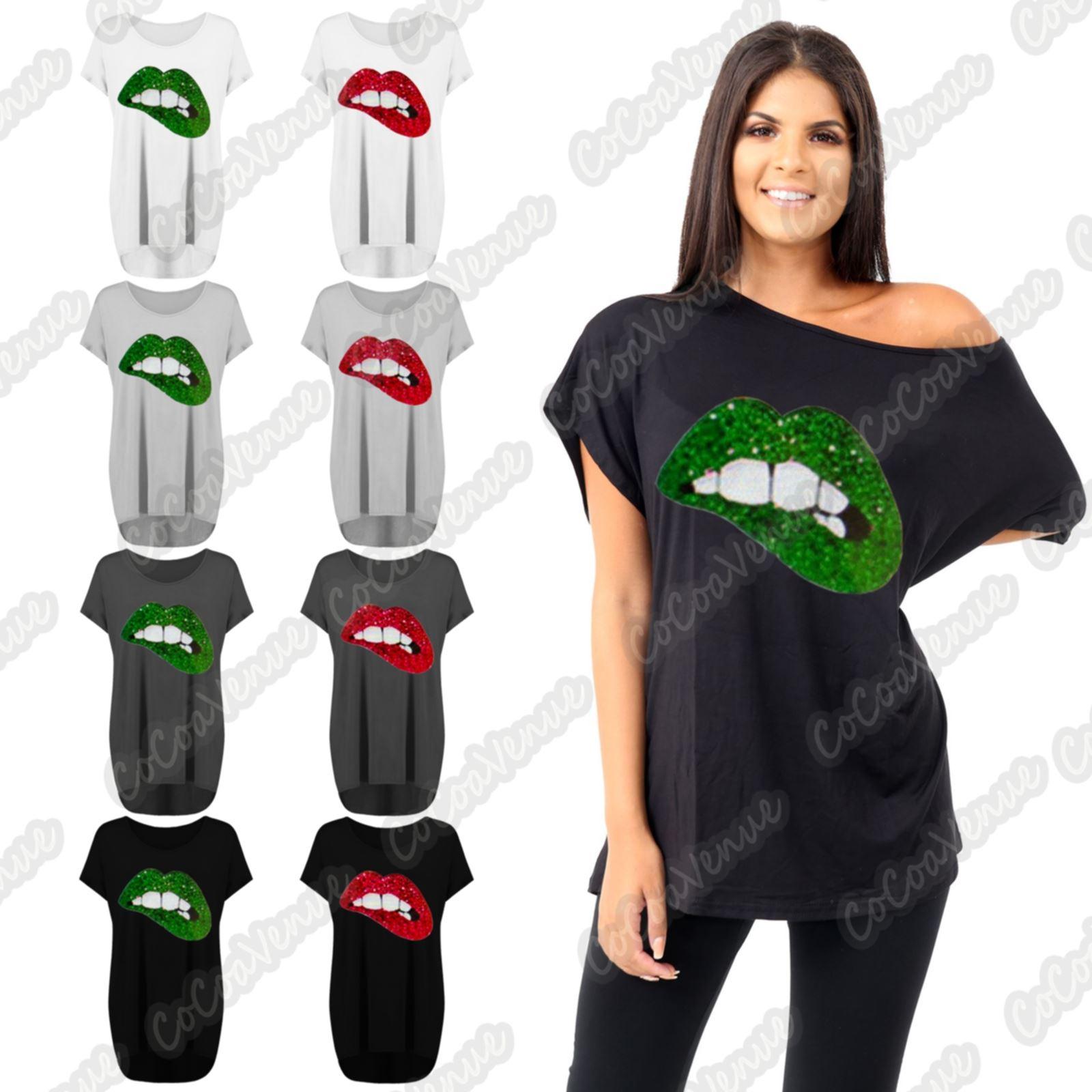 Plus Size Women Sequins Glitter Lips Print Loose Baggy Bardot T-Shirt Summer Top