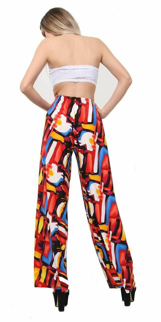 New-Ladies-Floral-Printed-Wide-Leg-Flared-Parallel-Baggy-Trousers-Pants-Palazzo thumbnail 38