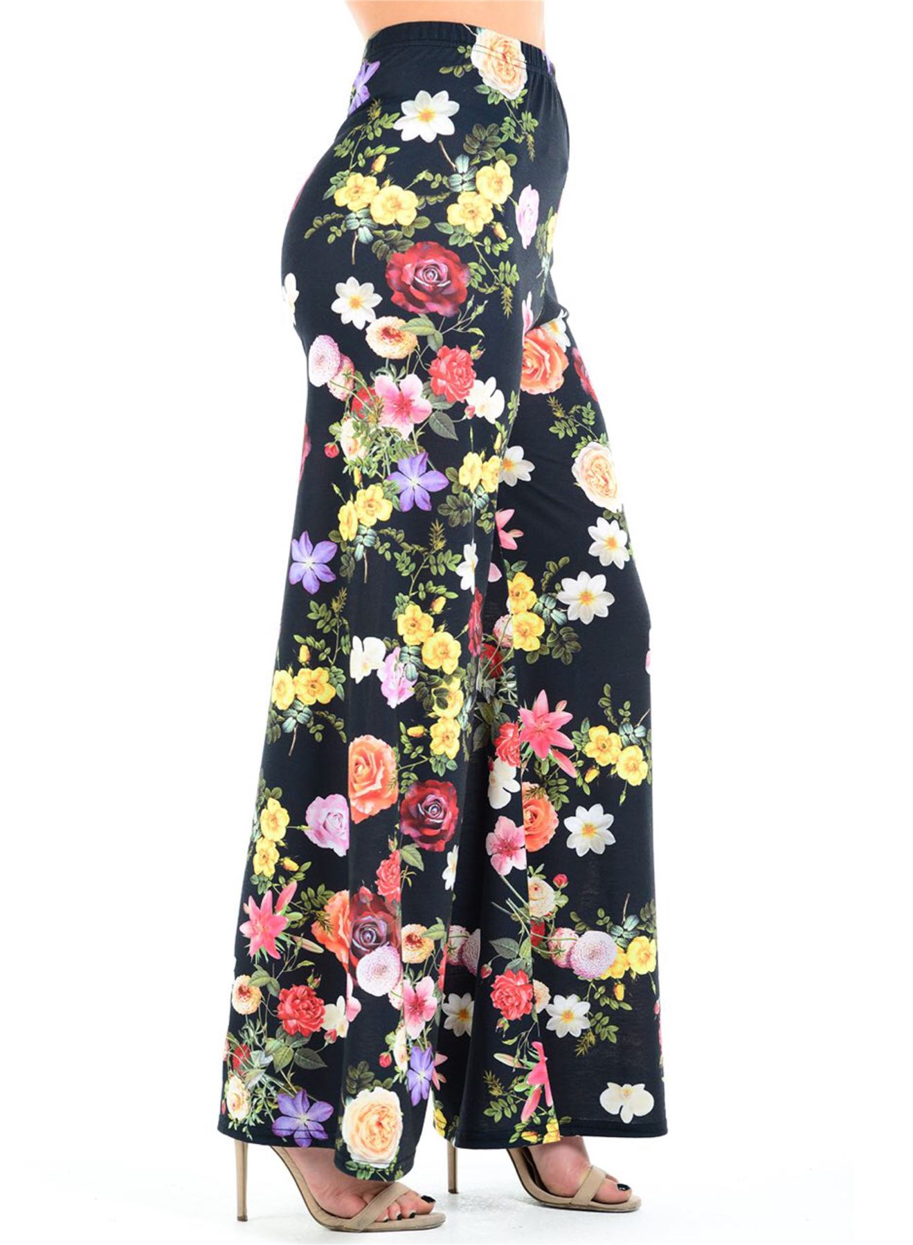 New-Ladies-Floral-Printed-Wide-Leg-Flared-Parallel-Baggy-Trousers-Pants-Palazzo thumbnail 83