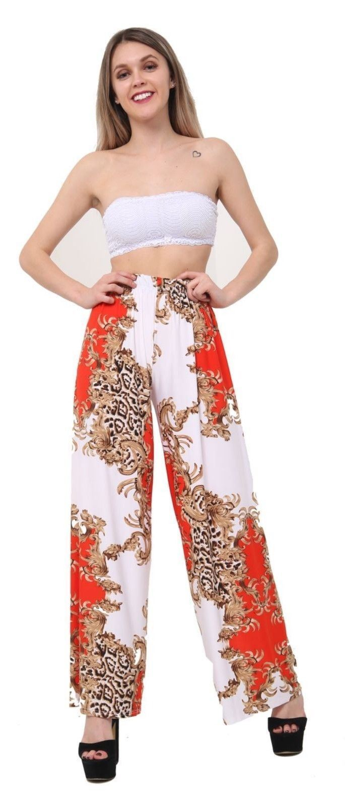 New-Ladies-Floral-Printed-Wide-Leg-Flared-Parallel-Baggy-Trousers-Pants-Palazzo thumbnail 42
