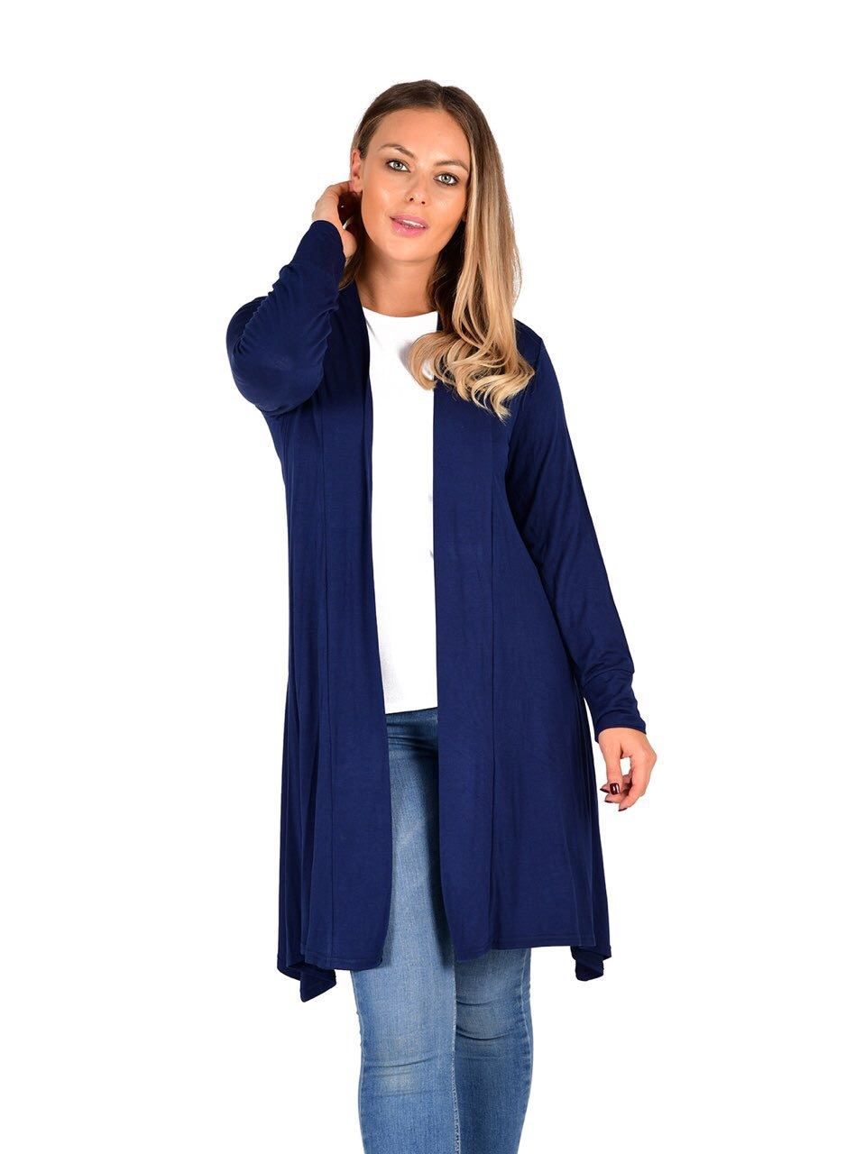 New-Womens-Open-Front-Knee-Length-Plain-Cardigan-Long-Sleeve-Party-Casual-Top miniatura 13