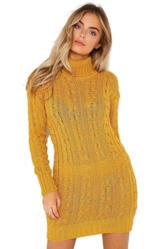 New-Ladies-Cowl-Polo-Neck-Cable-Knitted-Jumper-Pull-Bodycon-Tunic-Mini-Dress miniature 22