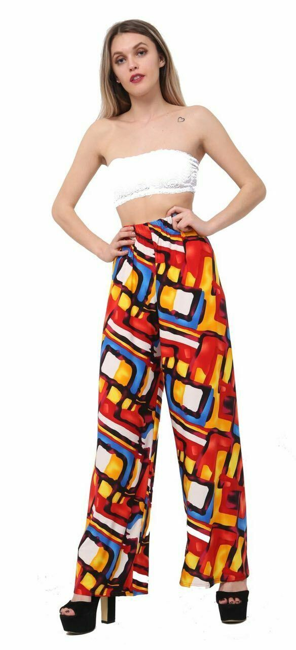 New-Ladies-Floral-Printed-Wide-Leg-Flared-Parallel-Baggy-Trousers-Pants-Palazzo thumbnail 36