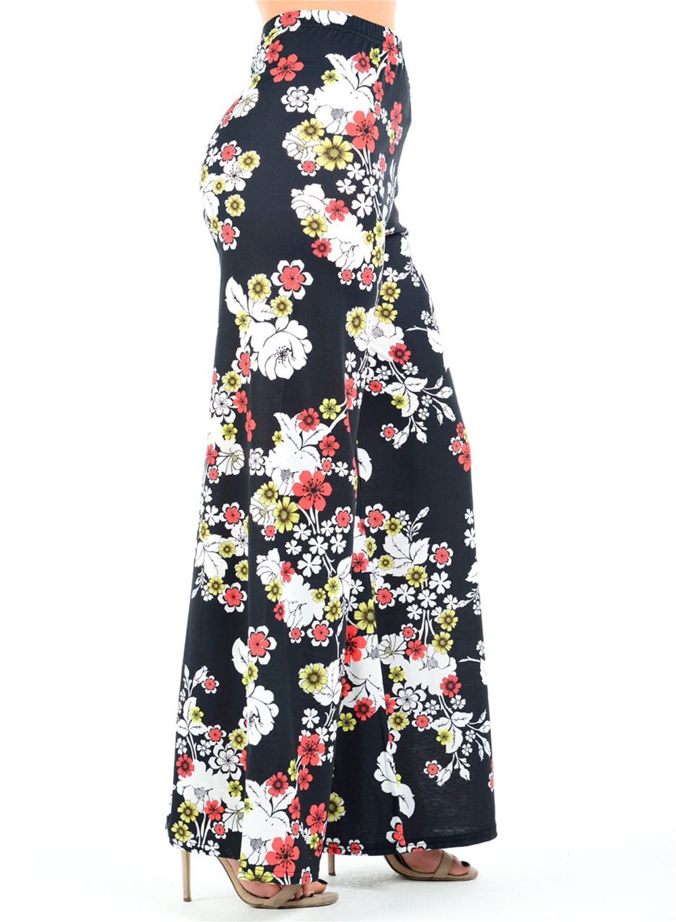 New-Ladies-Floral-Printed-Wide-Leg-Flared-Parallel-Baggy-Trousers-Pants-Palazzo thumbnail 79