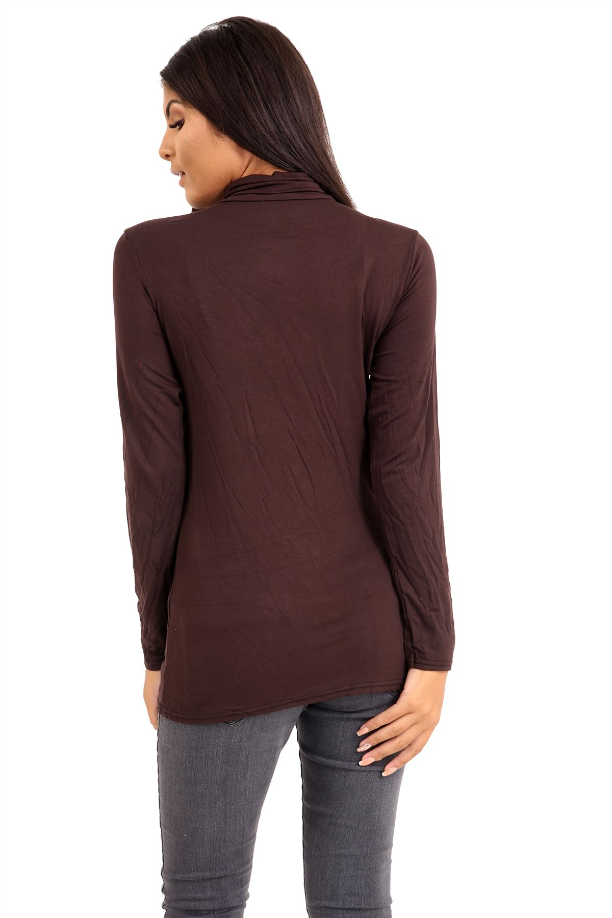 New-Ladies-Long-Sleeve-Plain-Turtle-Polo-Roll-Neck-Stretch-Jumper-T-Shirt-TeeTop thumbnail 32