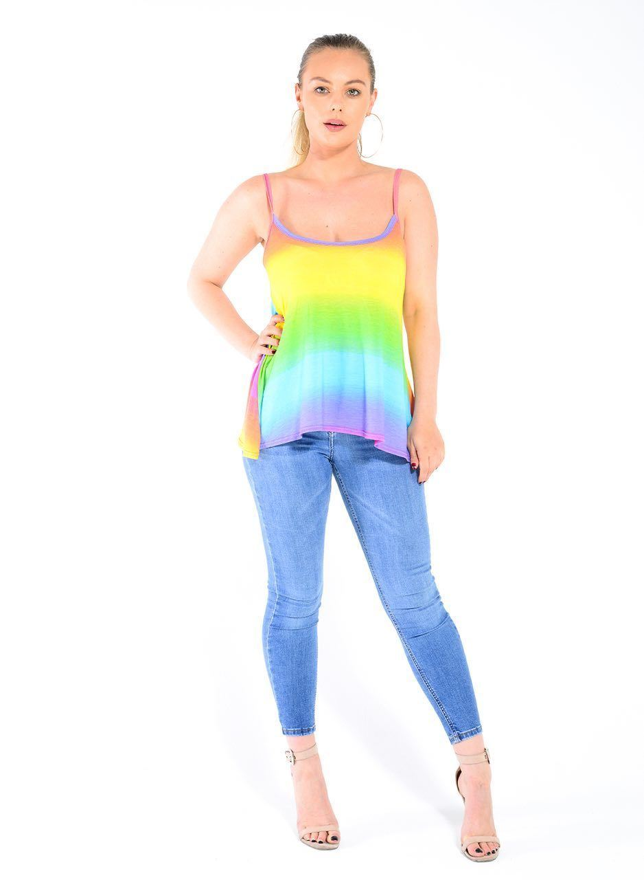 New-Ladies-Sleeveless-Camisole-Womens-Printed-Strappy-Flared-Swing-Cami-Vest-Top Indexbild 12