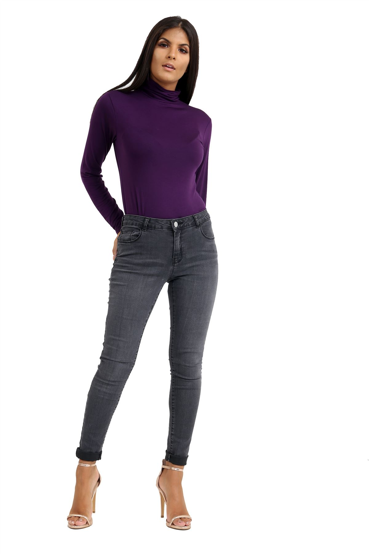New-Ladies-Long-Sleeve-Plain-Turtle-Polo-Roll-Neck-Stretch-Jumper-T-Shirt-TeeTop thumbnail 89