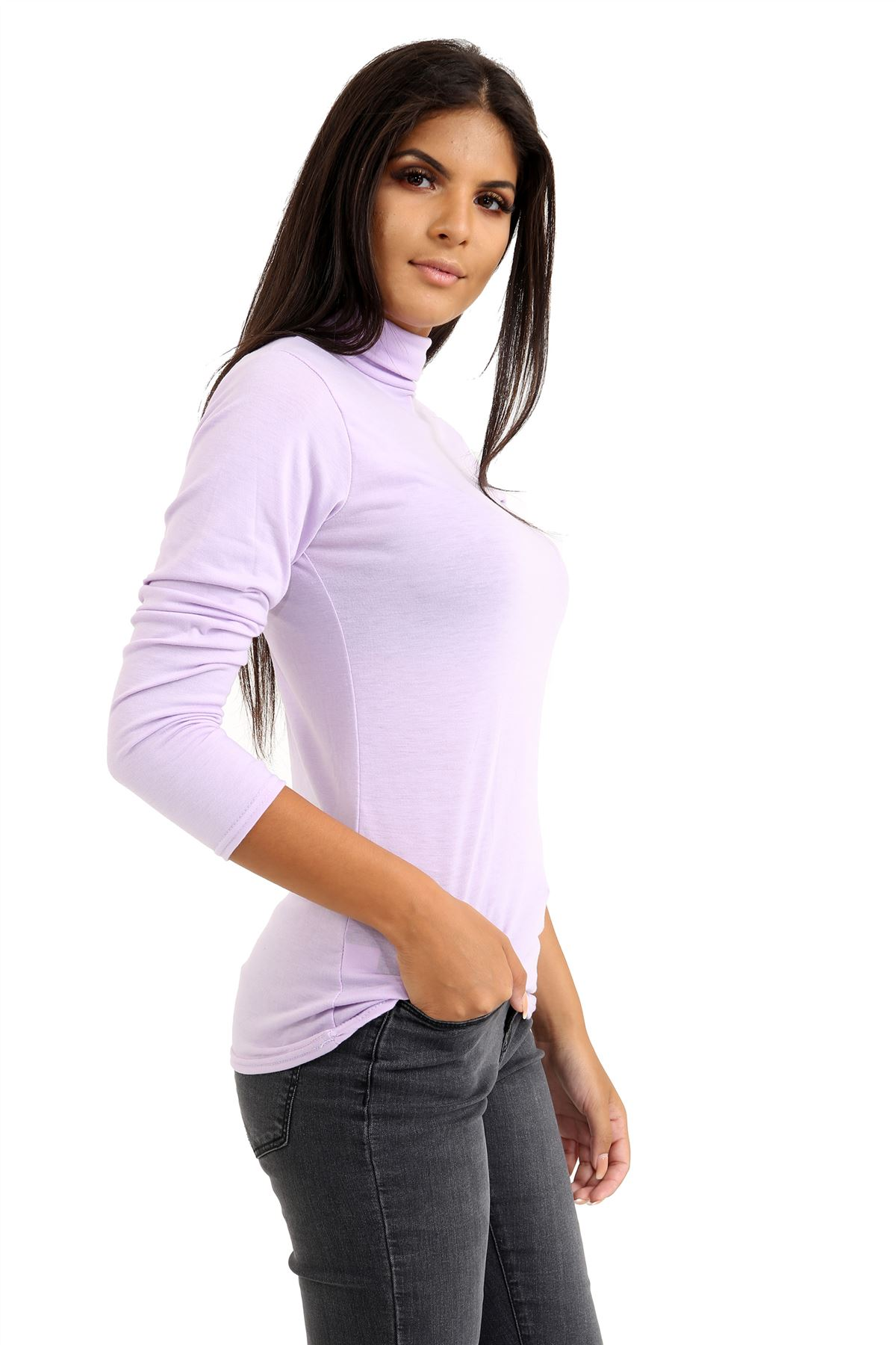 New-Ladies-Long-Sleeve-Plain-Turtle-Polo-Roll-Neck-Stretch-Jumper-T-Shirt-TeeTop thumbnail 59