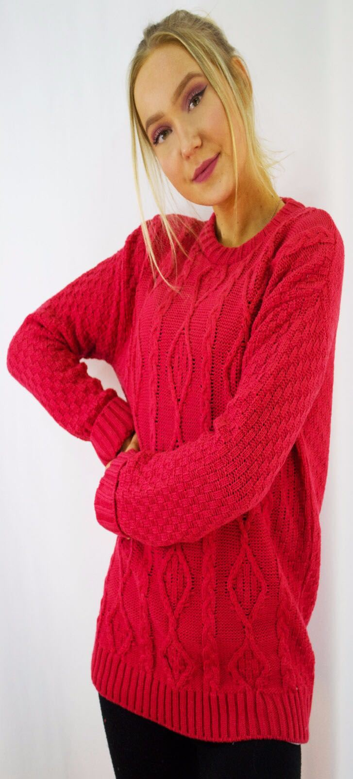 New-Ladies-Long-Manche-Chunky-Cable-Knitted-Jumper-crew-neck-hiver-Sweater-Top miniature 39