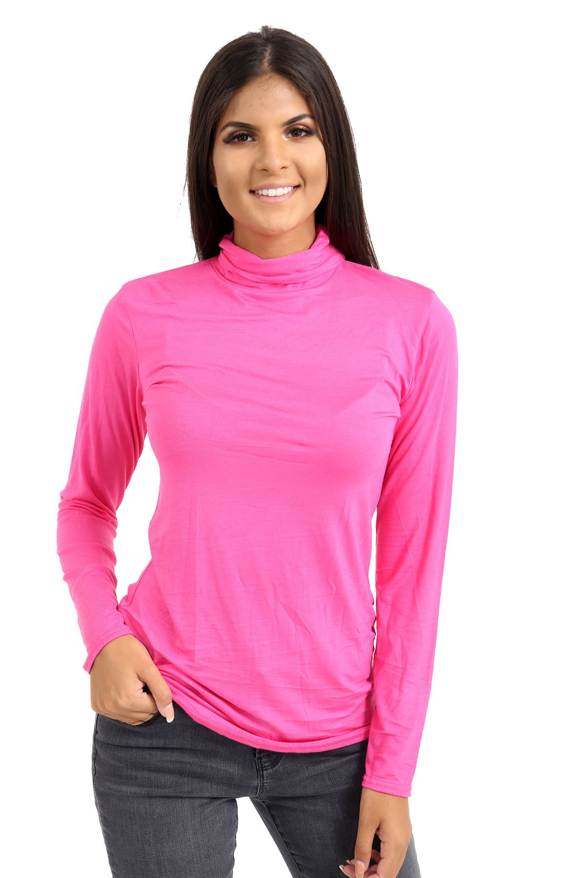 New-Ladies-Long-Sleeve-Plain-Turtle-Polo-Roll-Neck-Stretch-Jumper-T-Shirt-TeeTop thumbnail 21