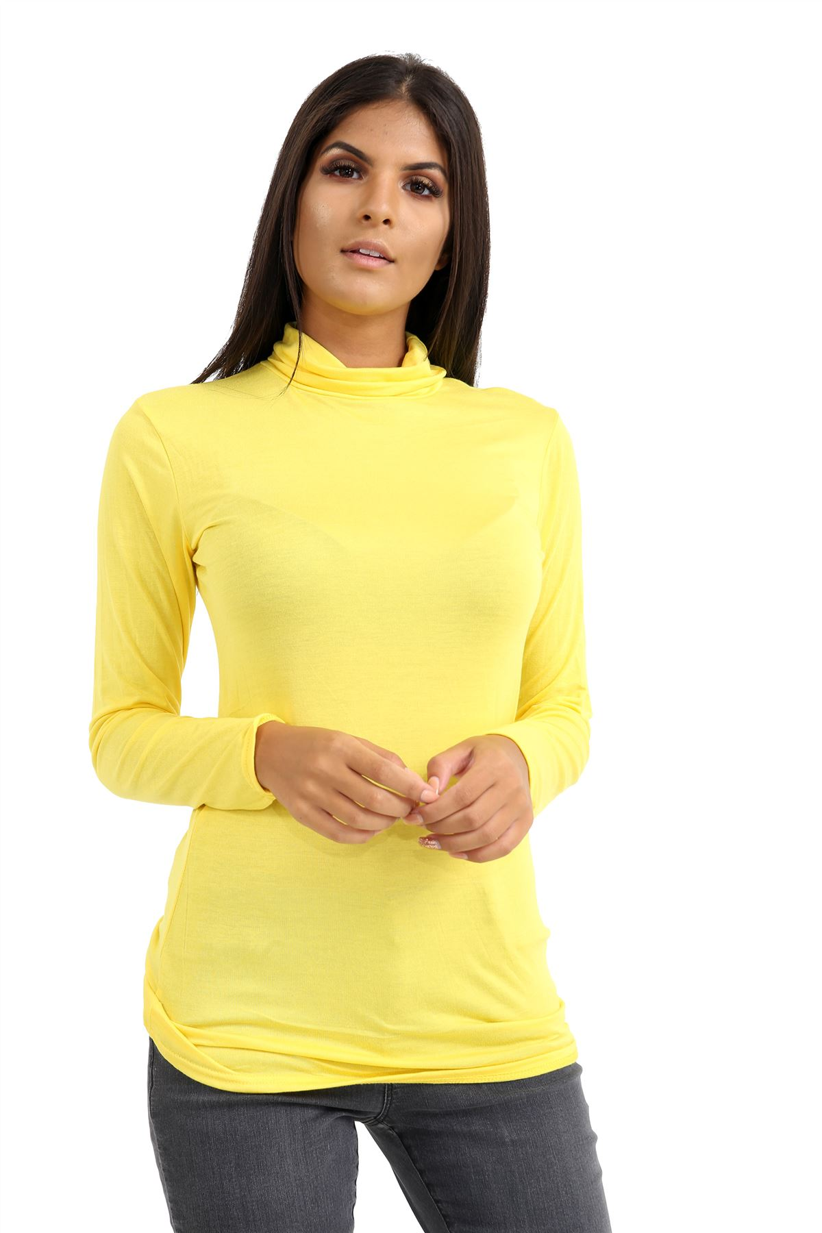 New-Ladies-Long-Sleeve-Plain-Turtle-Polo-Roll-Neck-Stretch-Jumper-T-Shirt-TeeTop thumbnail 135