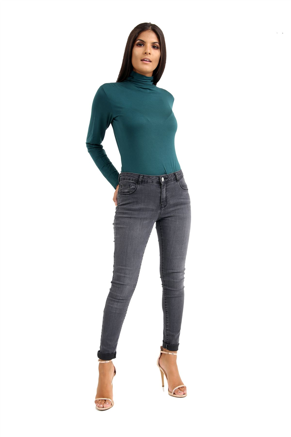 New-Ladies-Long-Sleeve-Plain-Turtle-Polo-Roll-Neck-Stretch-Jumper-T-Shirt-TeeTop thumbnail 10
