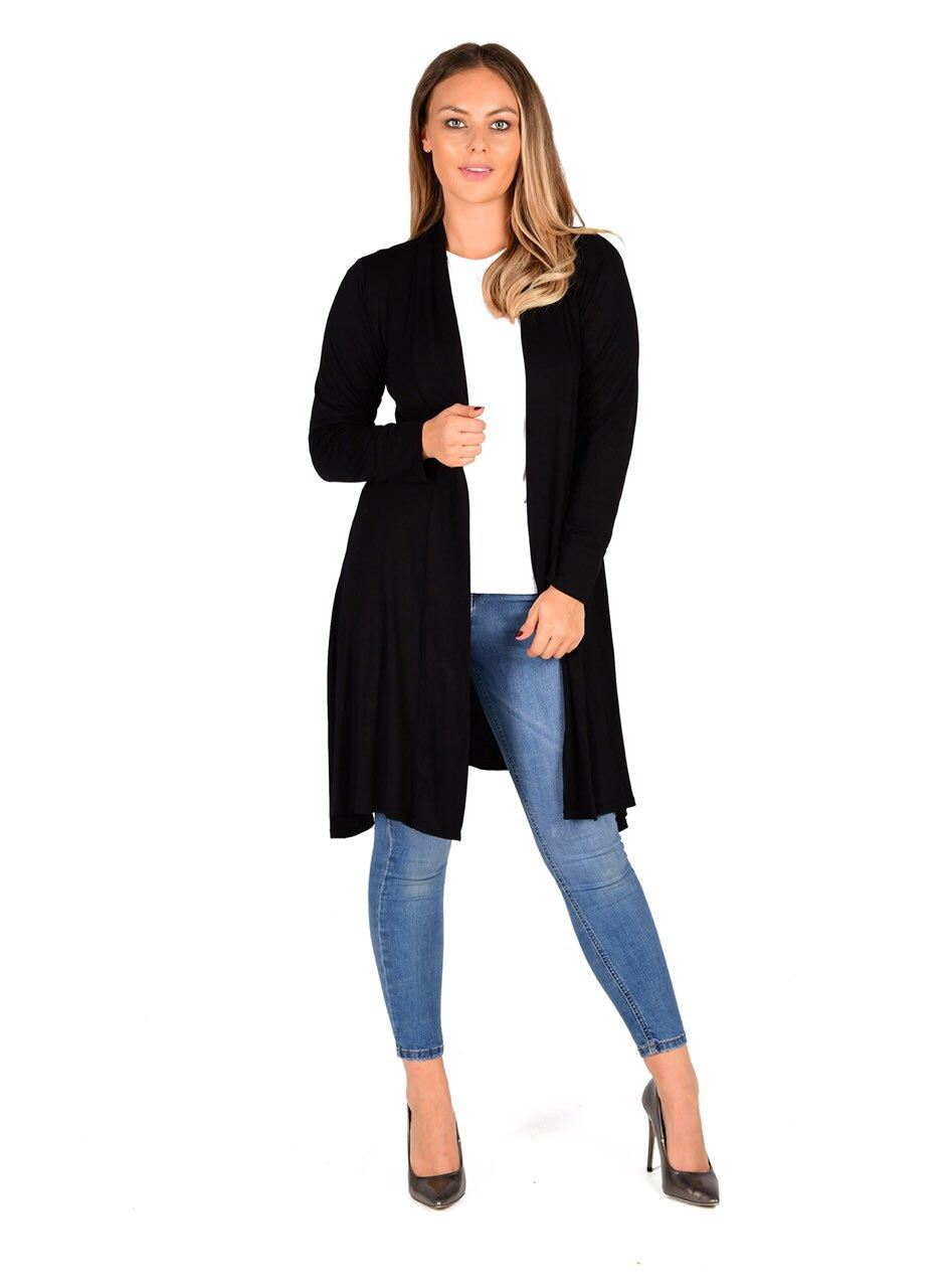 New-Womens-Open-Front-Knee-Length-Plain-Cardigan-Long-Sleeve-Party-Casual-Top miniatura 4