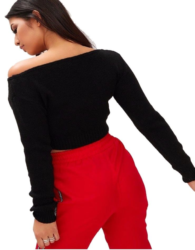 New-Womens-Off-Shoulder-V-Neck-Knitted-Cropped-Long-Sleeve-Jumper-Warm-Sweater miniatura 4