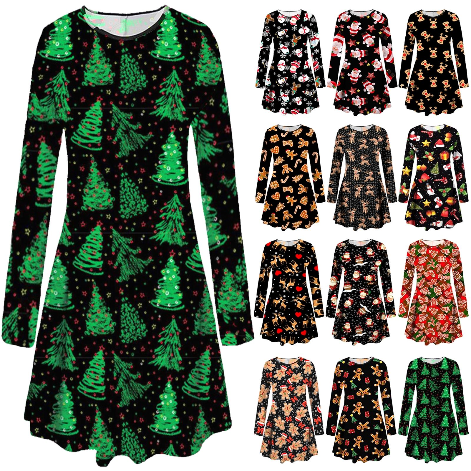Christmas Swing Dress Uk.Details About Uk Womens Christmas Gingerbread Candy Xmas Gift Party Swing Dress Top Plus Size