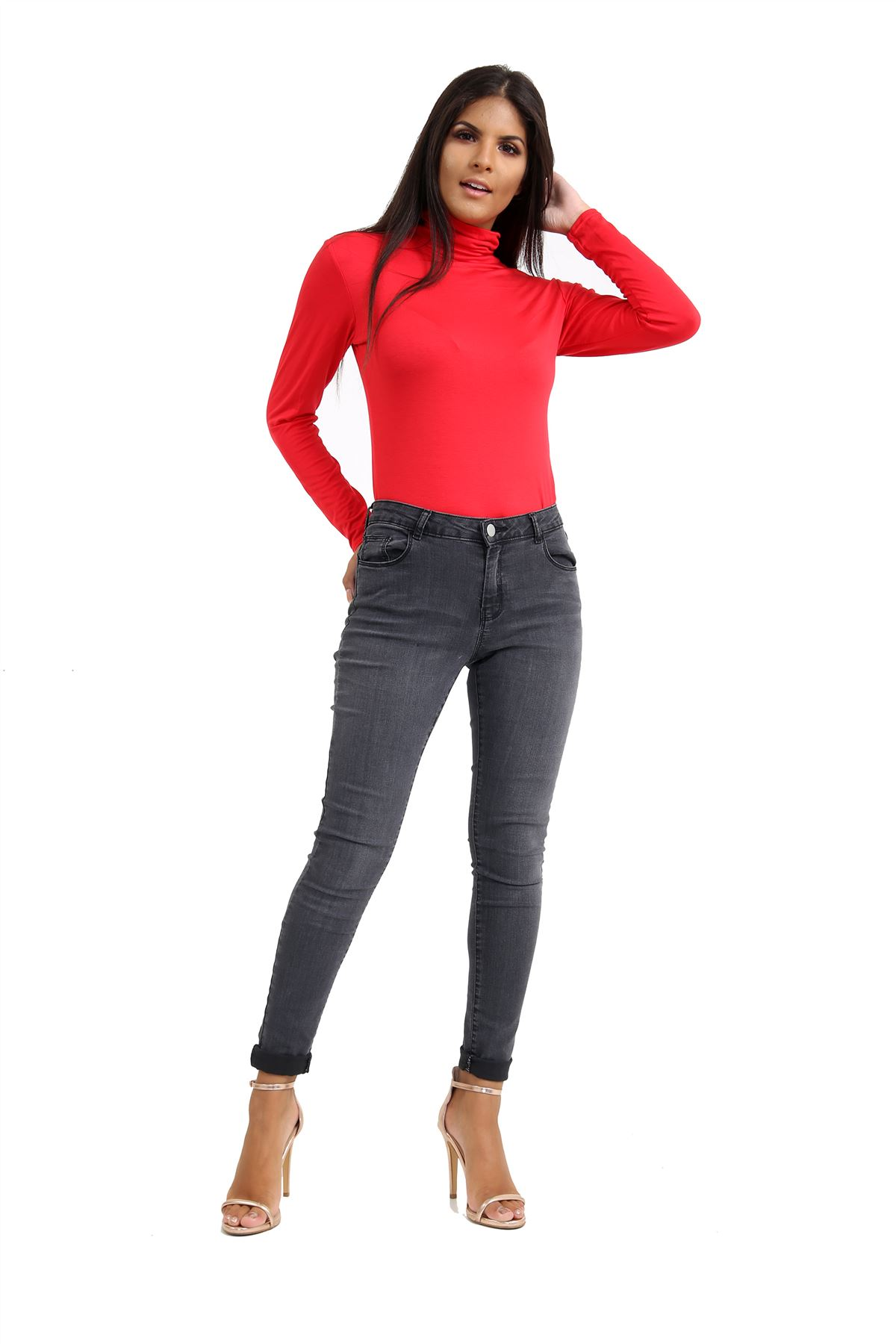 New-Ladies-Long-Sleeve-Plain-Turtle-Polo-Roll-Neck-Stretch-Jumper-T-Shirt-TeeTop thumbnail 103